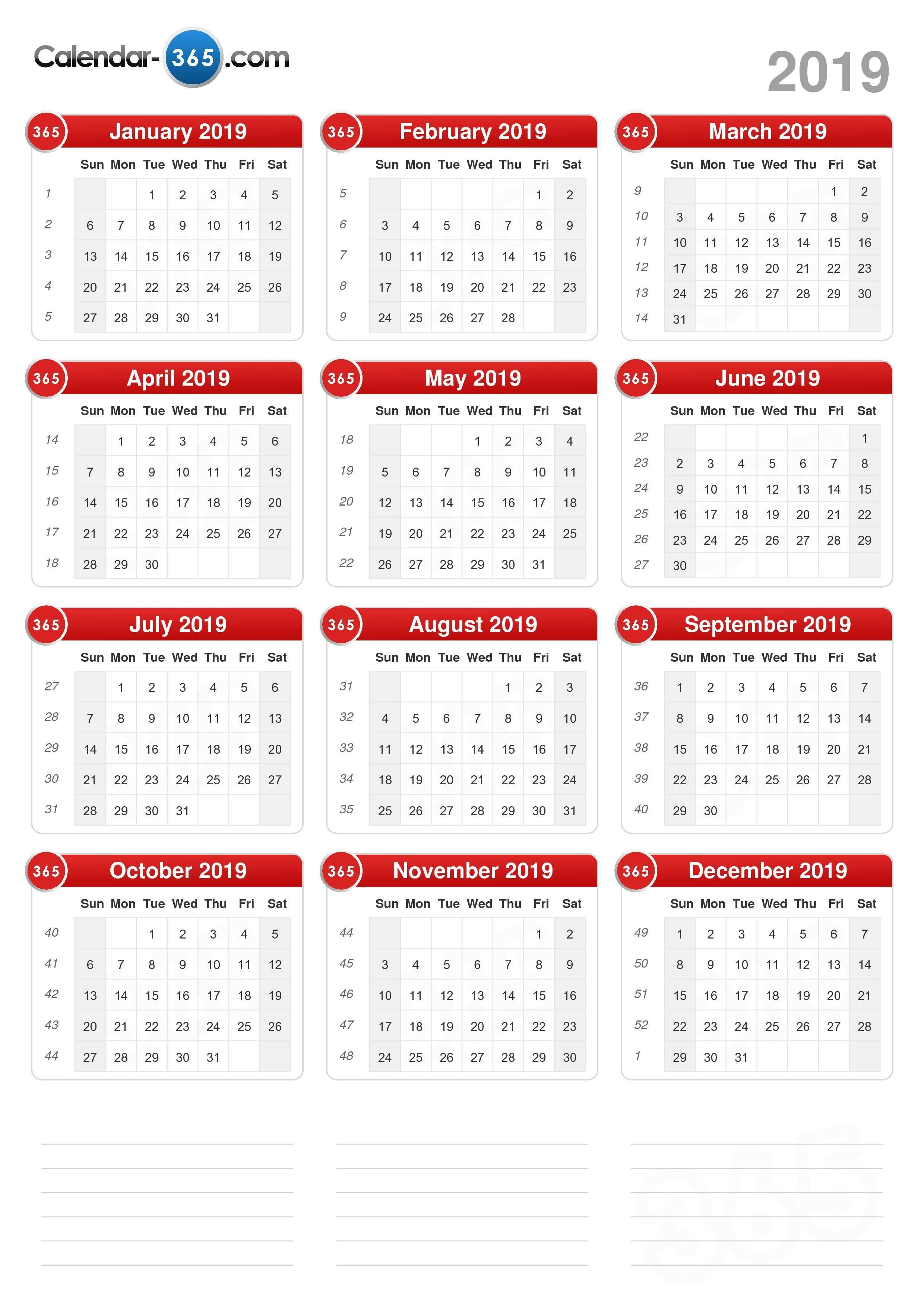 2019 Calendar Calendar 2019 Entire Year