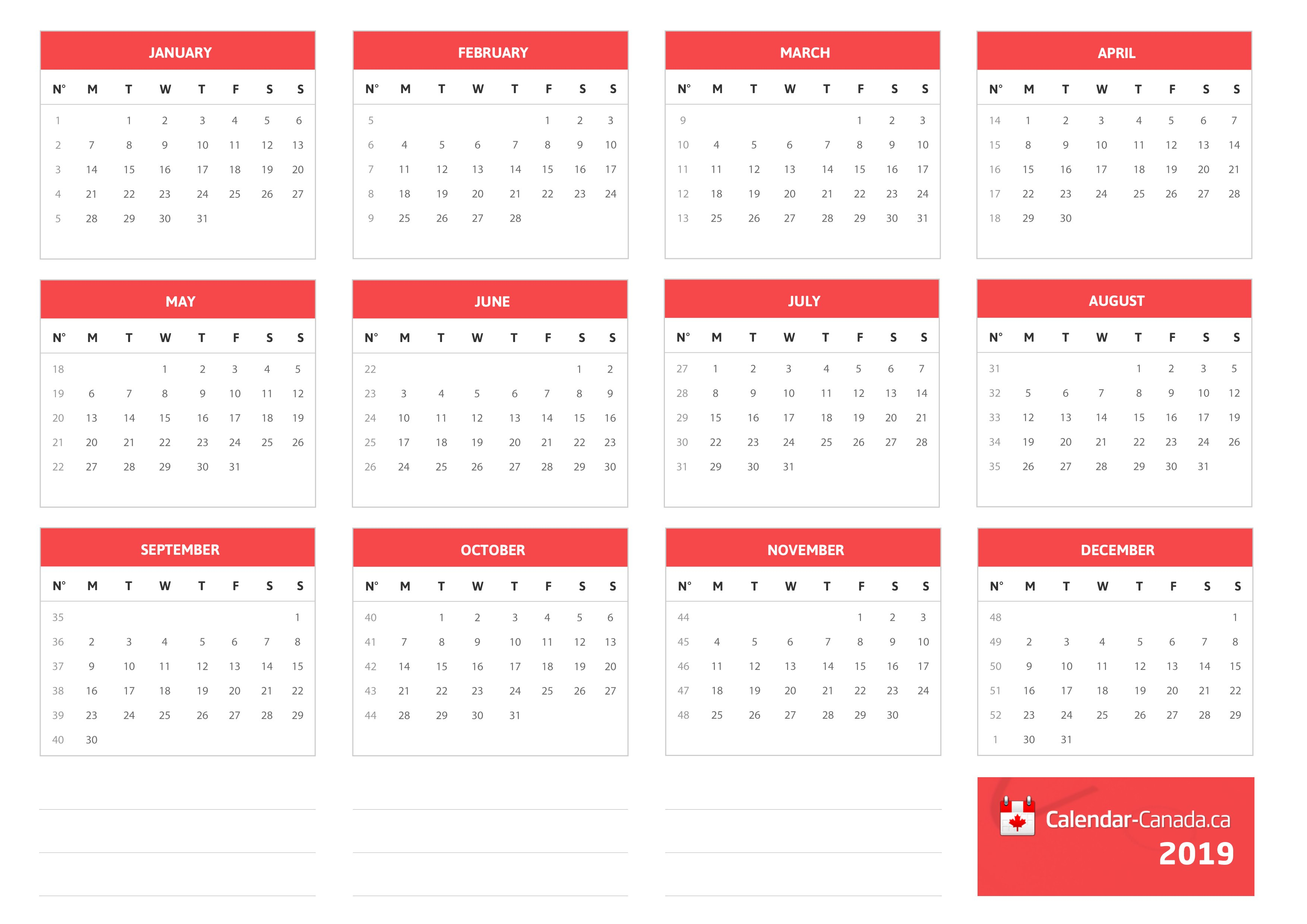 2019 Calendar Canada Calendar 2019 Canada
