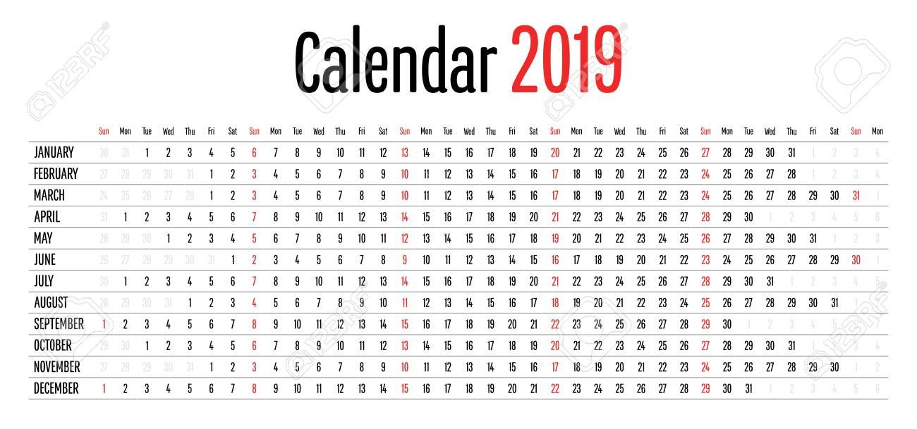 2019 Calendar Design Horizontal Dimension Template Simple Clear Calendar 2019 Horizontal