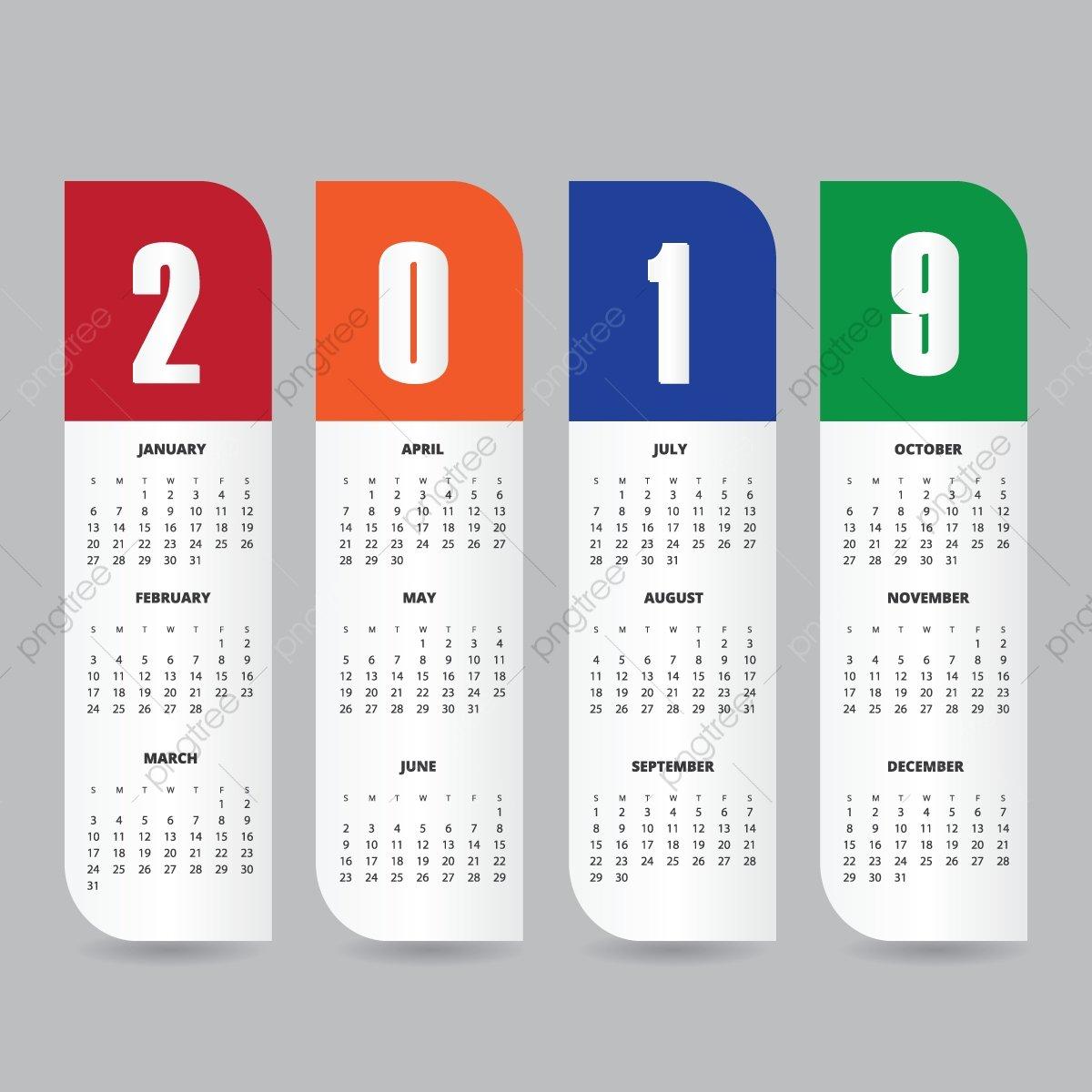 2019 Calendar Design Template Ад Справочная Информация Синий Png И Design A Calendar 2019