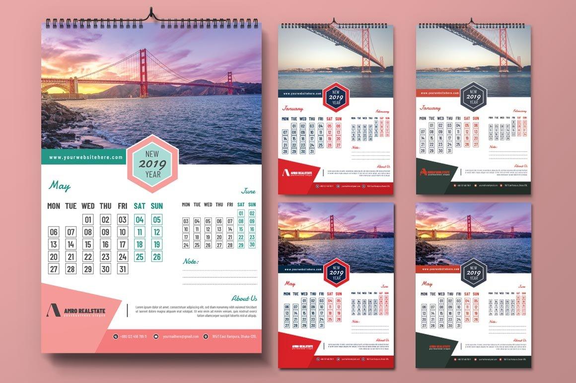 2019 Calendar Design Template - Photoshop Action Calendar 2019 Template Psd