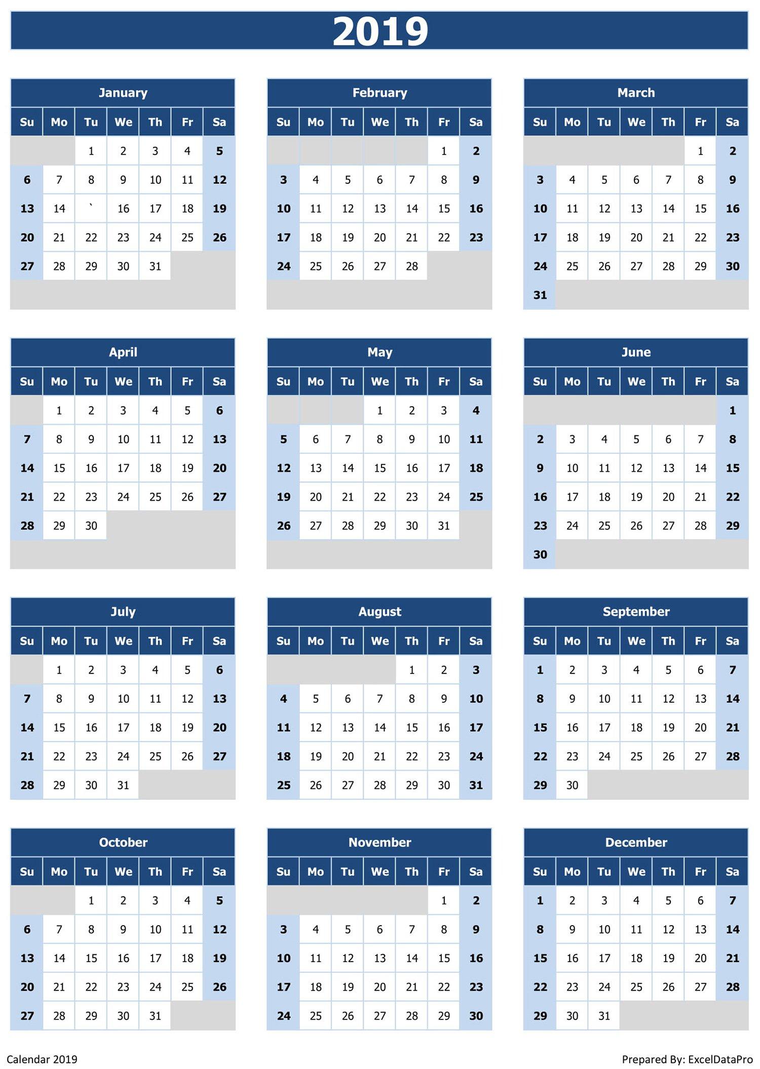 2019 Calendar Excel Templates, Printable Pdfs & Images - Exceldatapro Calendar 2019 View