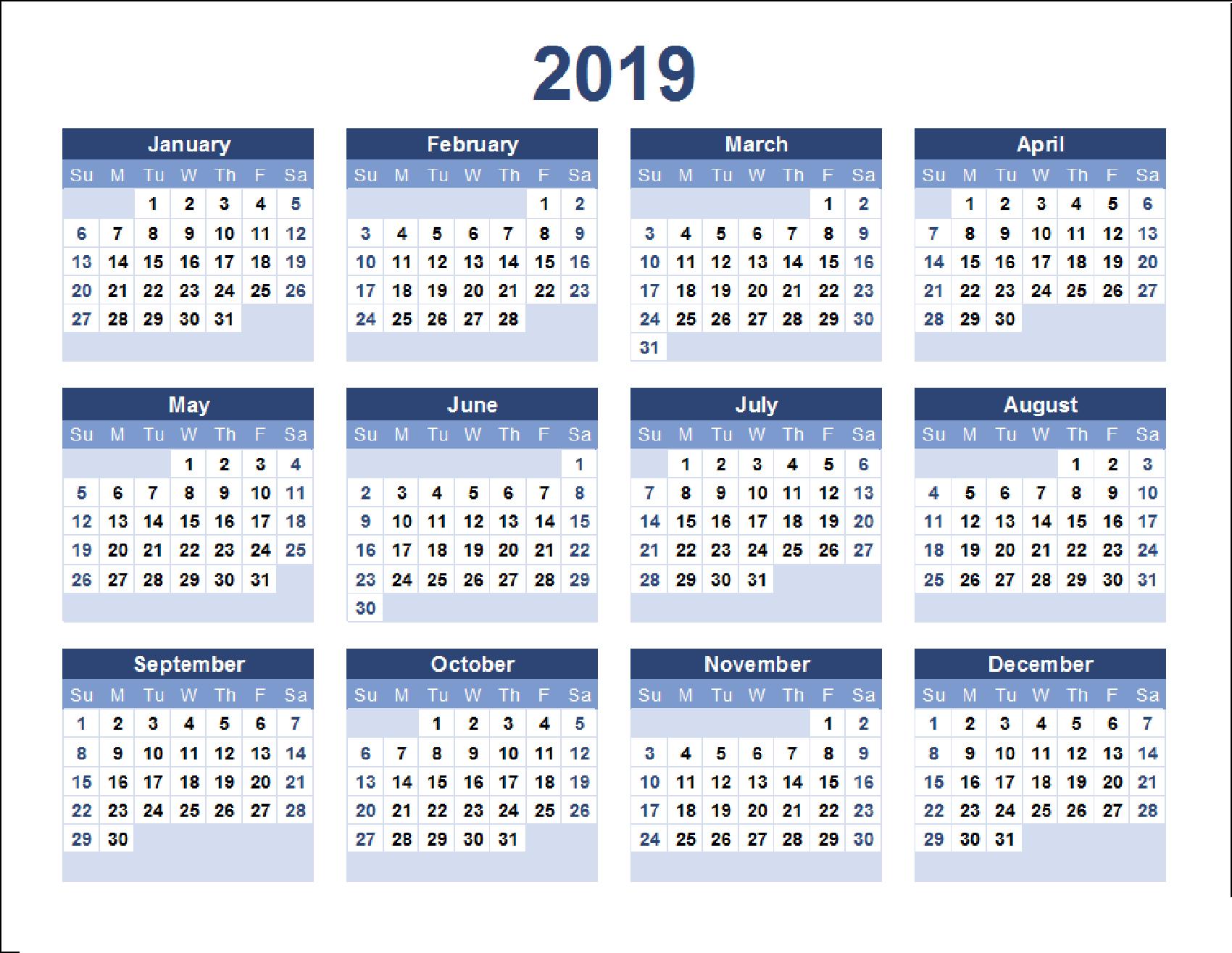 2019 Calendar Excel, Word, Pdf Templates - Printable Monthly Calendar Calendar 2019 Year Excel