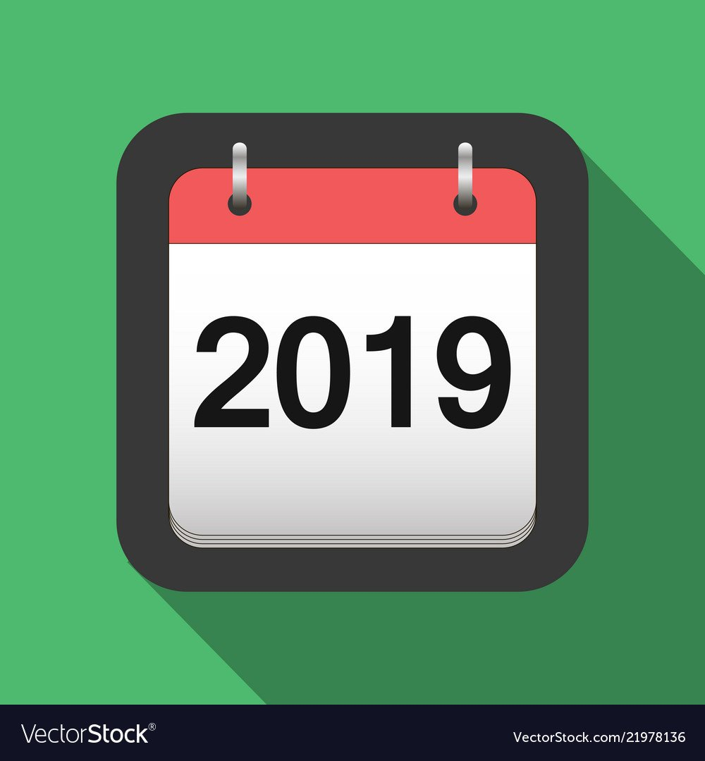 2019 Calendar Flat Icon 2019 Calendar Cover Sheet Vector Image Calendar 2019 Cover