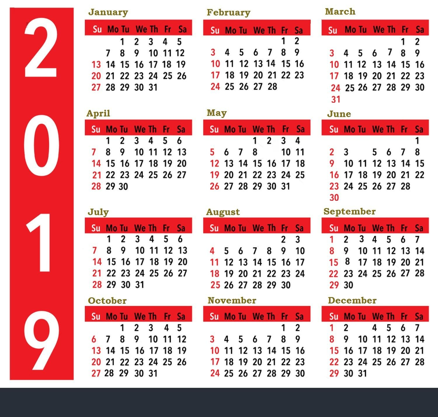 2019 Calendar For United States Holidays All Important Dates And Calendar 2019 All Holidays