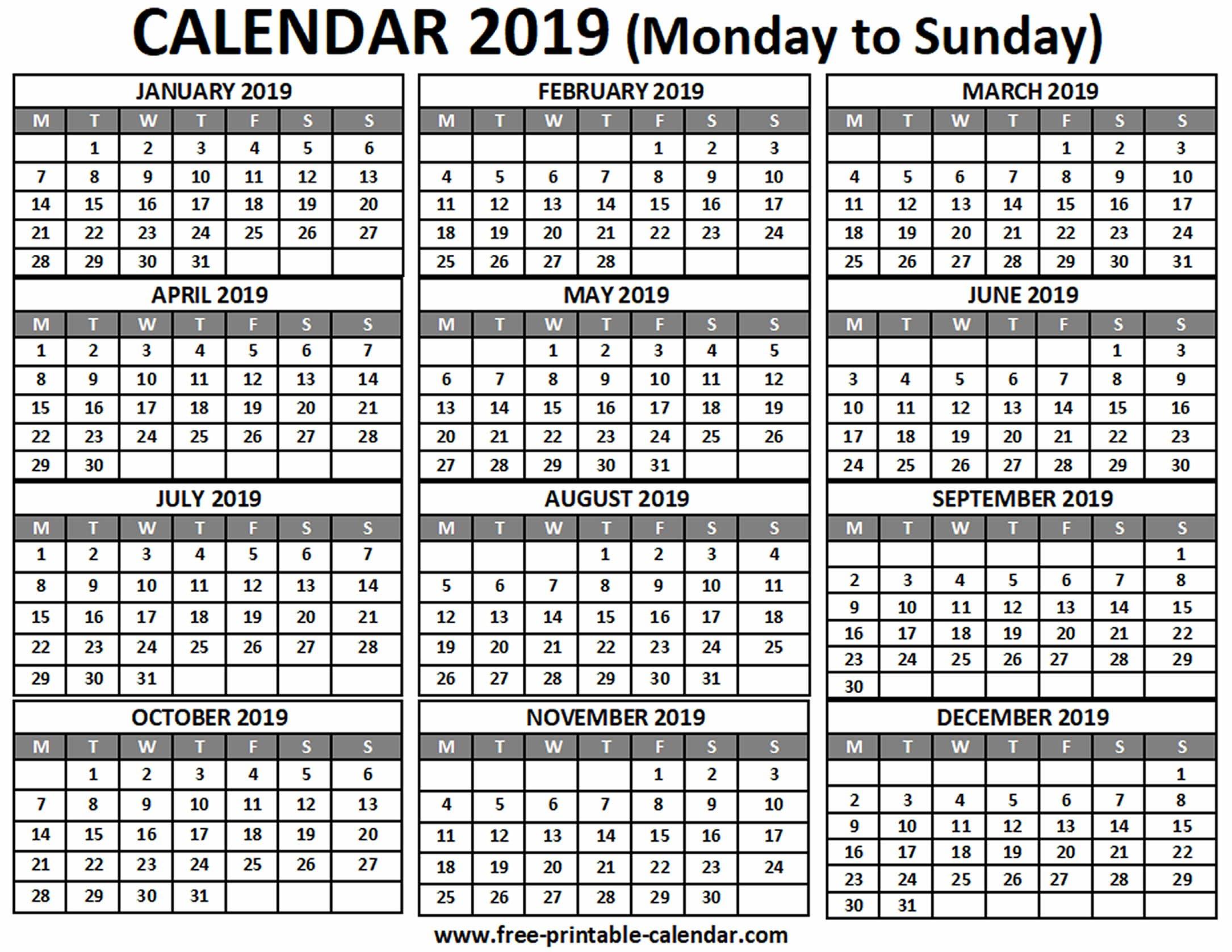 2019 Calendar - Free-Printable-Calendar Term 1 Calendar 2019