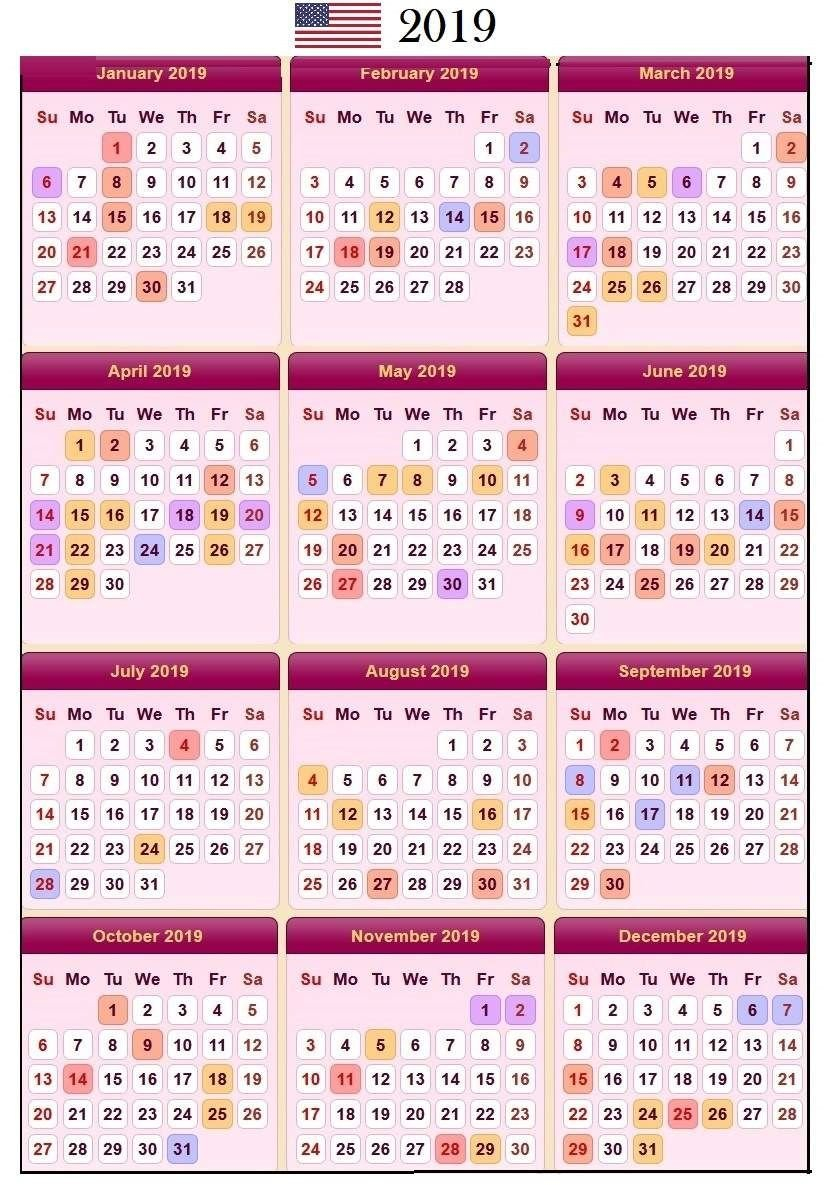2019 Calendar Holidays In United States. #usa #calendar Calendar 2019 United States
