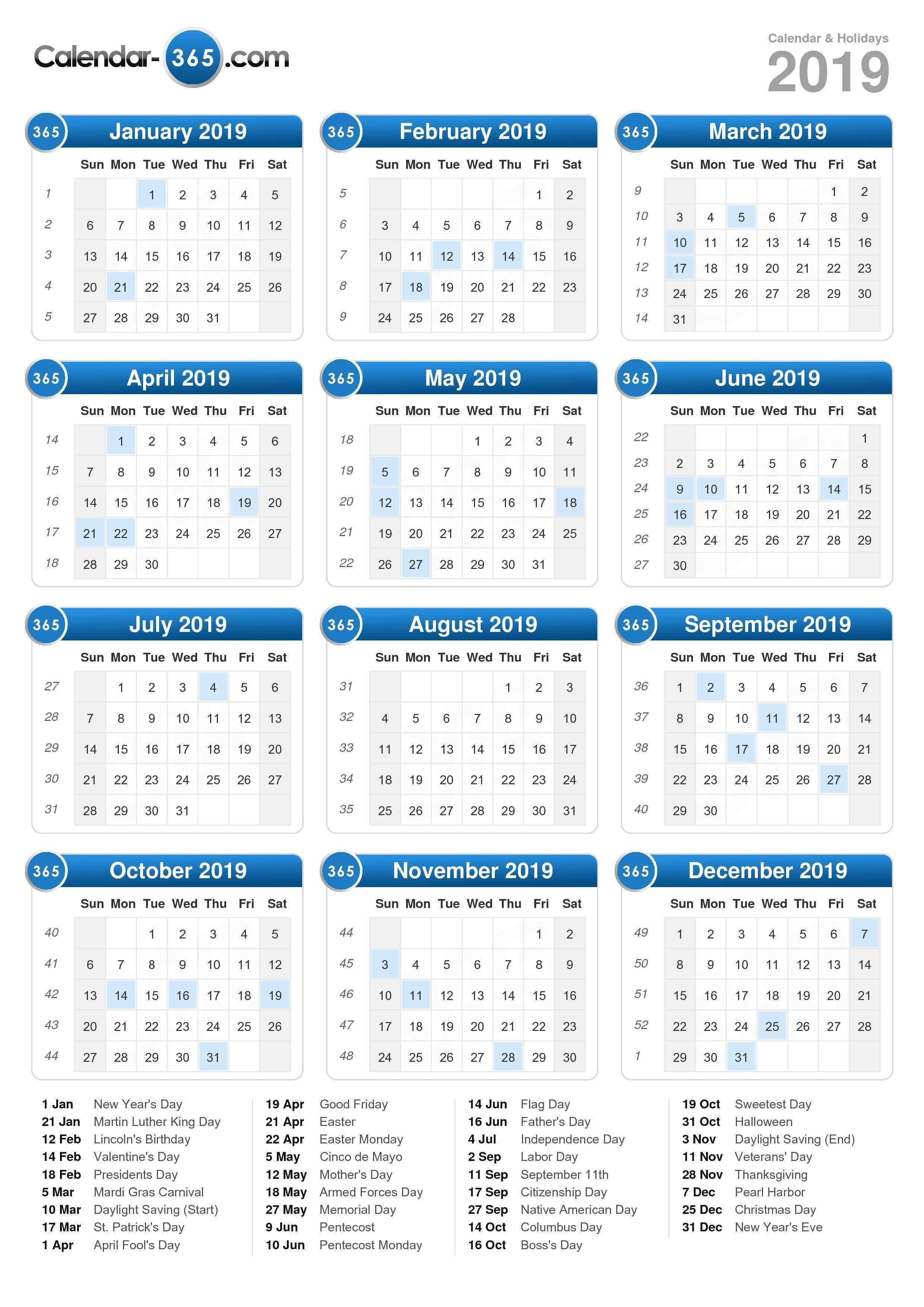 2019 Calendar Holidays On A Calendar 2019