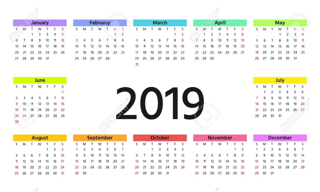 2019 Calendar In Simple Style. Week Starts Sunday. Vector Calendar 2019 Weeks
