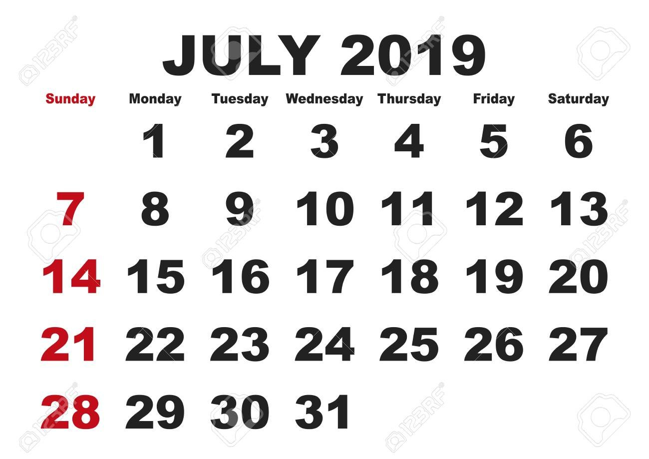 2019 Calendar July Month. Vector Printable Calendar. Monthly.. July 8 2019 Calendar