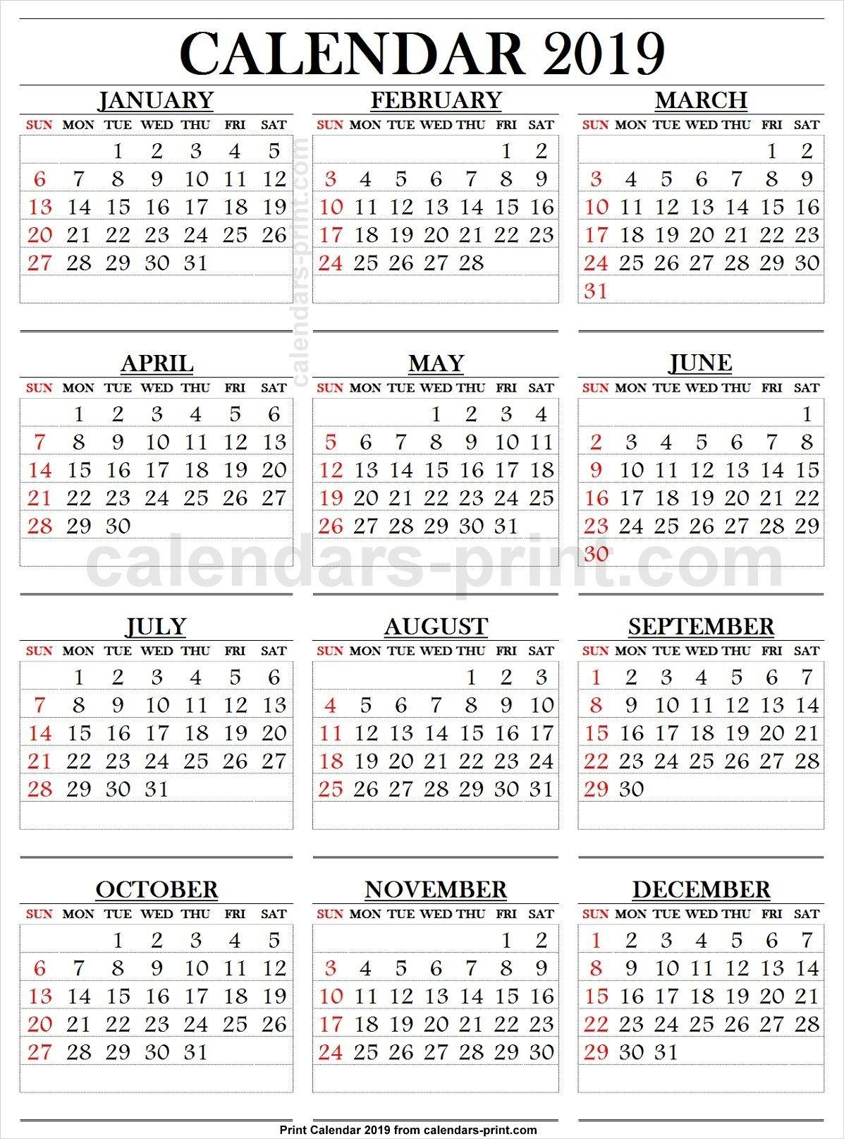2019 Calendar Large Numbers | 2019 Yearly Calendar | 2019 Calendar Calendar 2019 Large