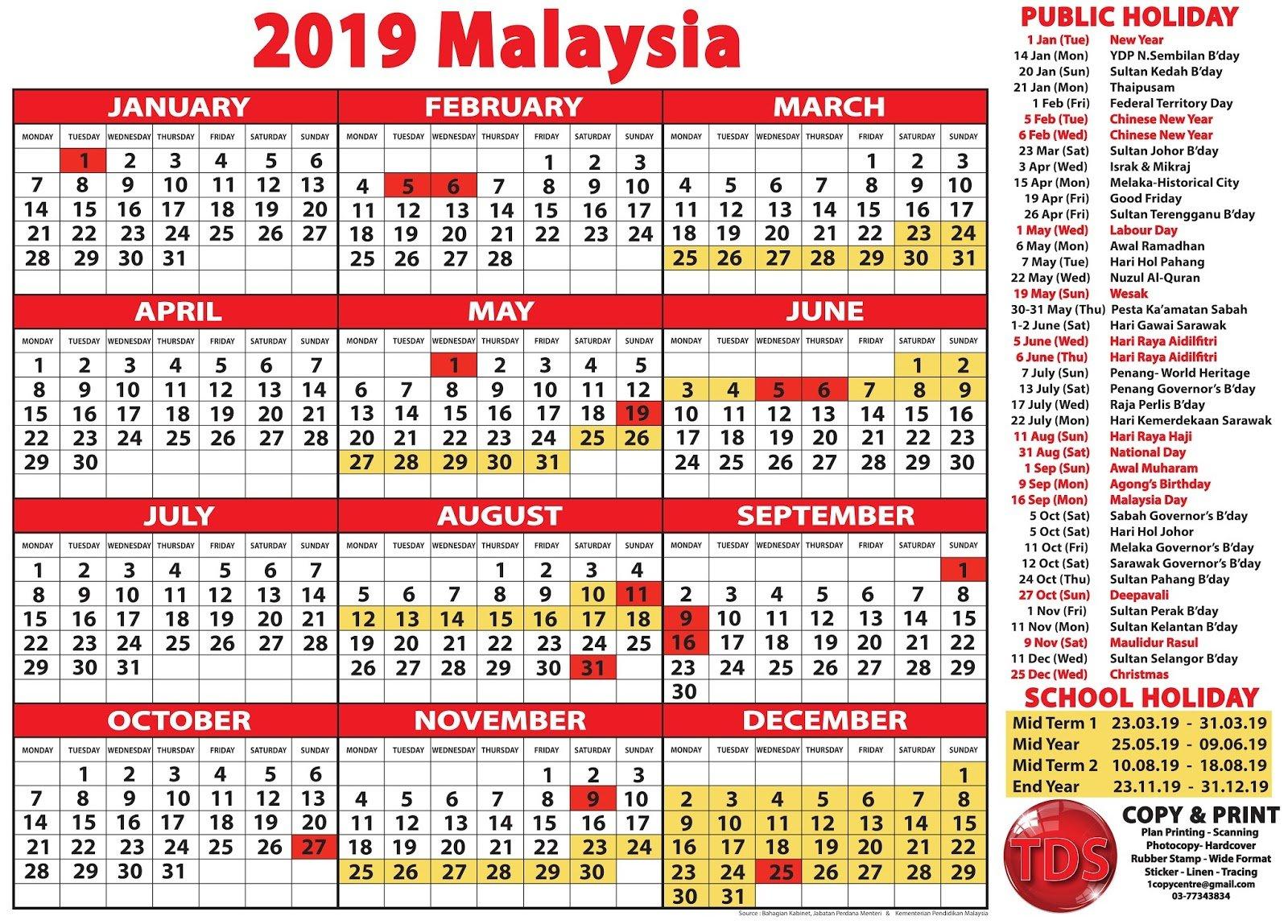 2019 Calendar Malaysia - Kalendar 2019 Malaysia Calendar 2019 Malaysia