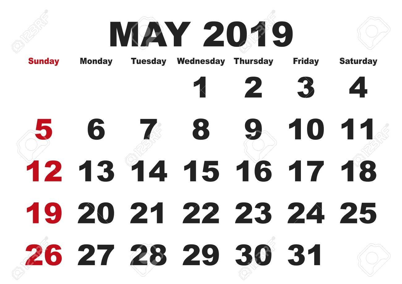 2019 Calendar May Month. Vector Printable Calendar. Monthly Calendar May 5Th 2019
