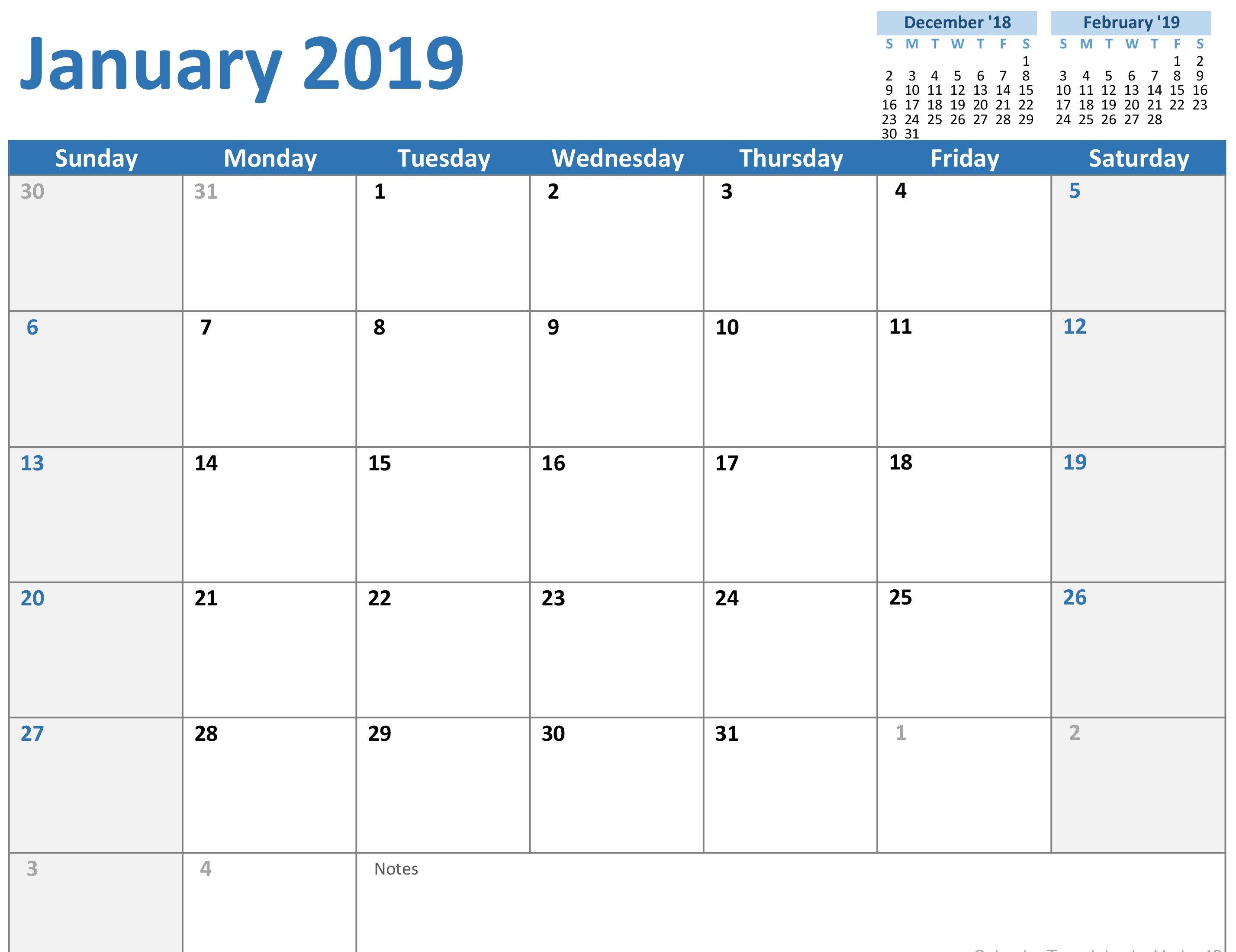 2019 Calendar (Mon-Sun) Calendar 2019 Template Powerpoint