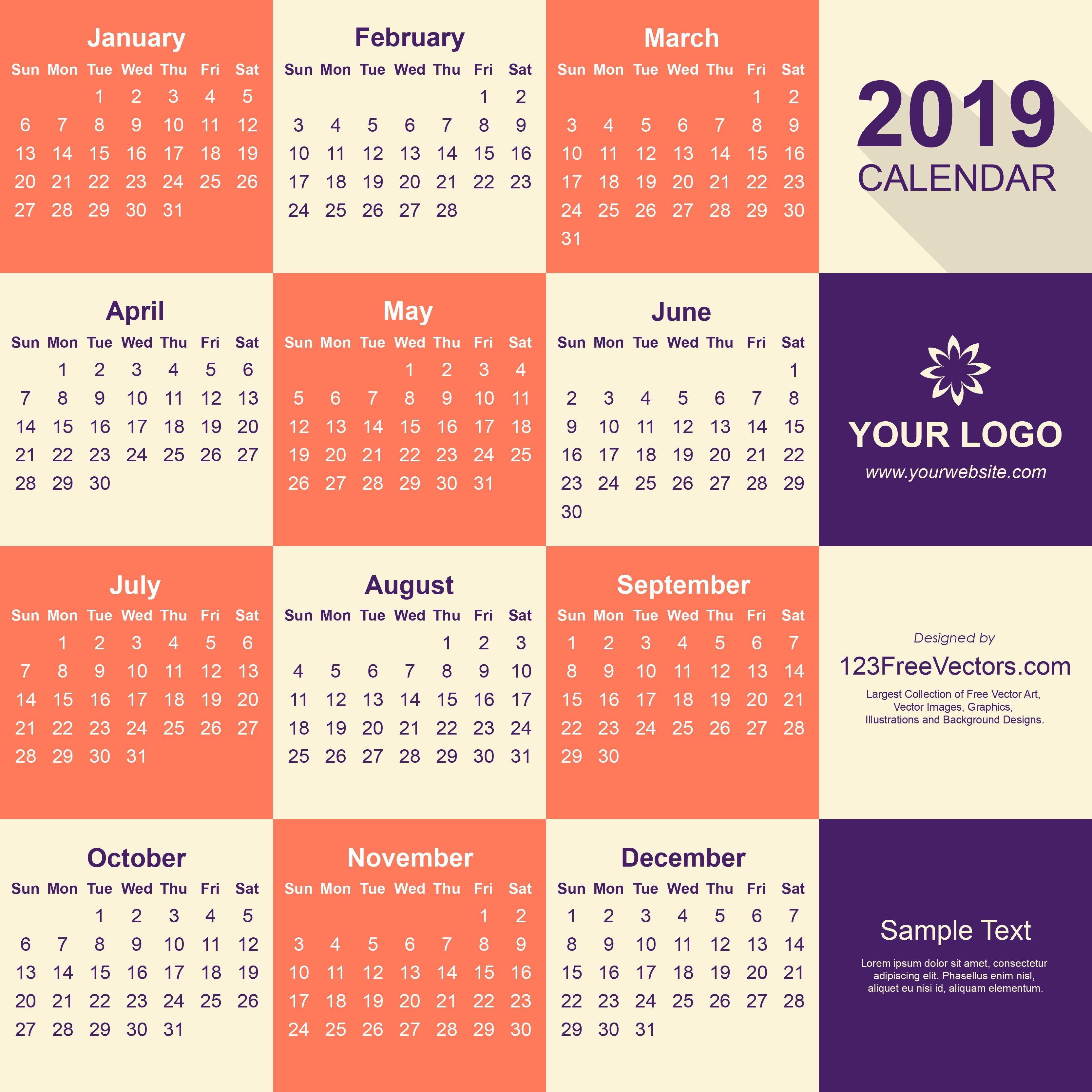 2019 Calendar Pdf Free Download Calendar 2019 Pdf Free Download