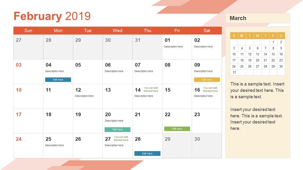 2019 Calendar Powerpoint Template - Slidemodel Calendar 2019 Monthly