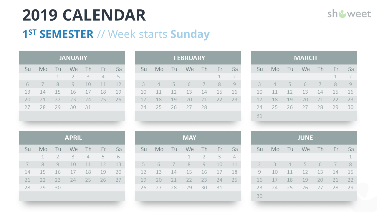 2019 Calendar Powerpoint Templates Calendar Week 6 2019