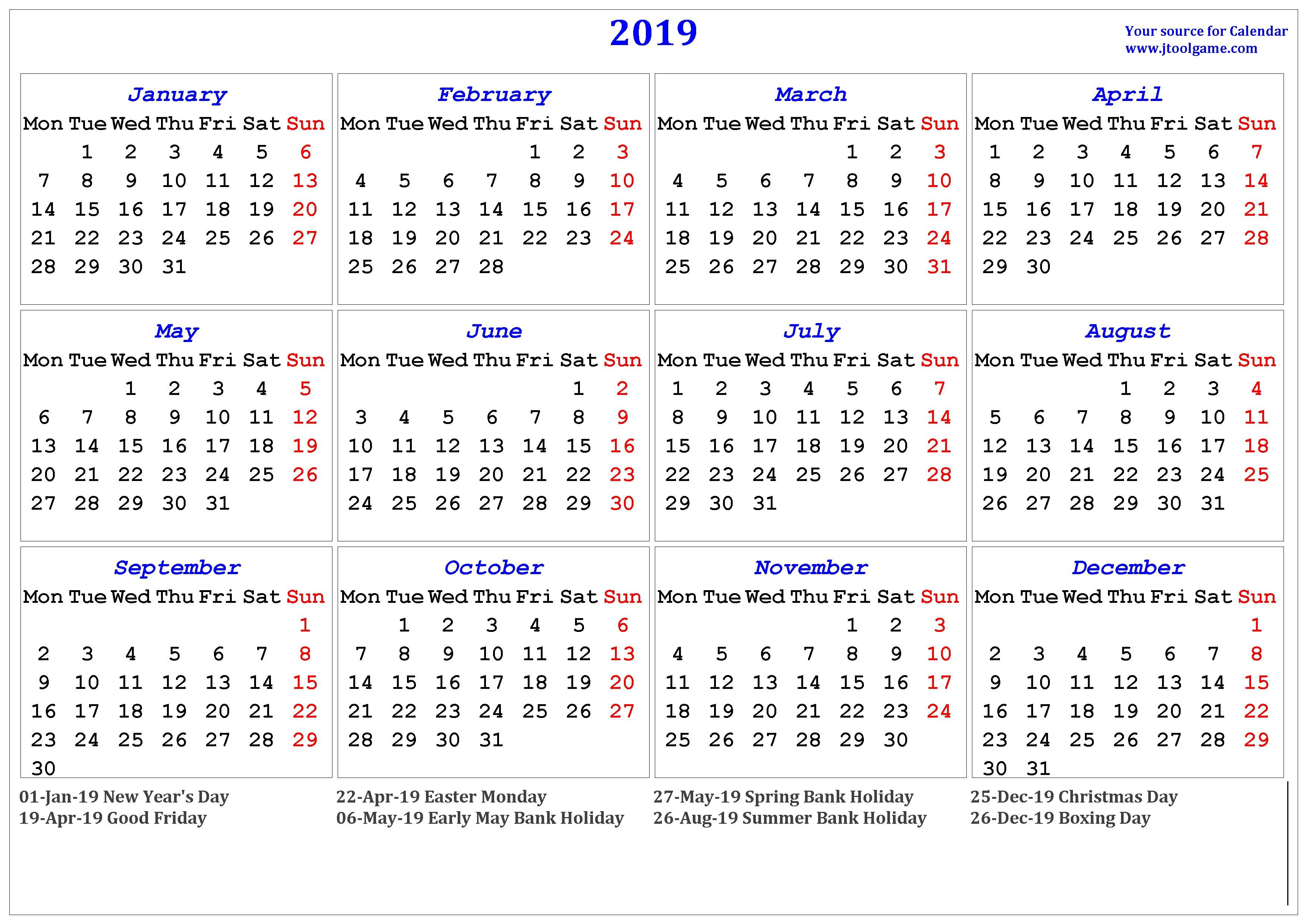 2019 Calendar - Printable Calendar. 2019 Calendar In Multiple Colors Calendar 2019 All Holidays