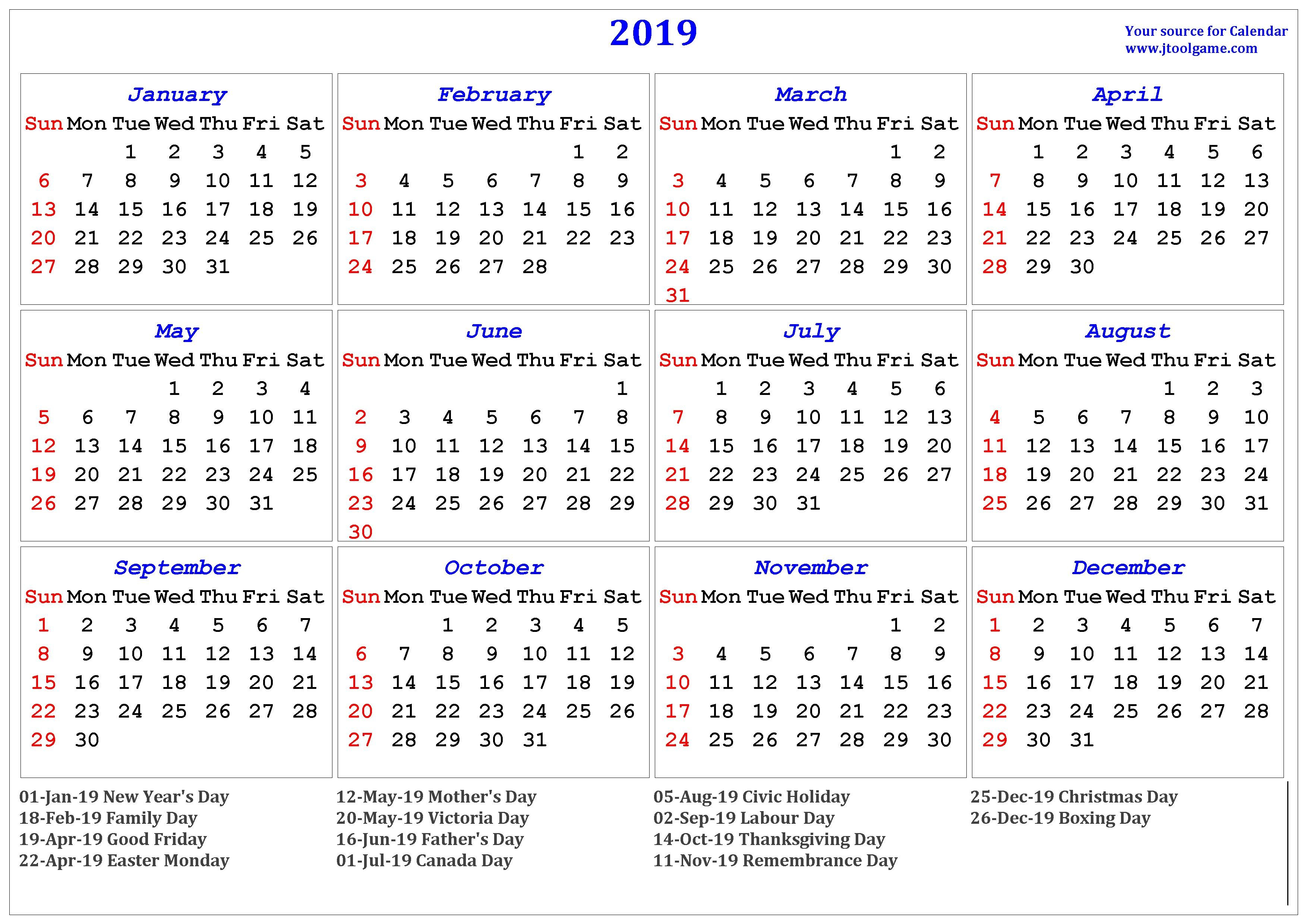 2019 Calendar - Printable Calendar. 2019 Calendar In Multiple Colors Calendar 2019 Canada