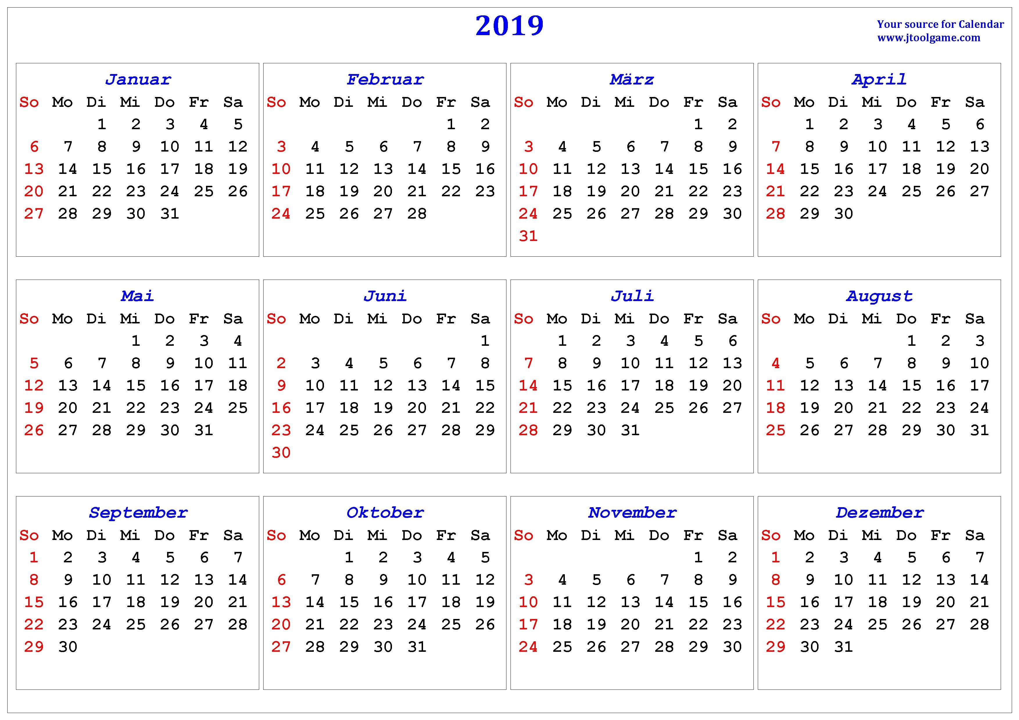 2019 Calendar - Printable Calendar. 2019 Calendar In Multiple Colors Calendar 2019 Germany Week Numbers