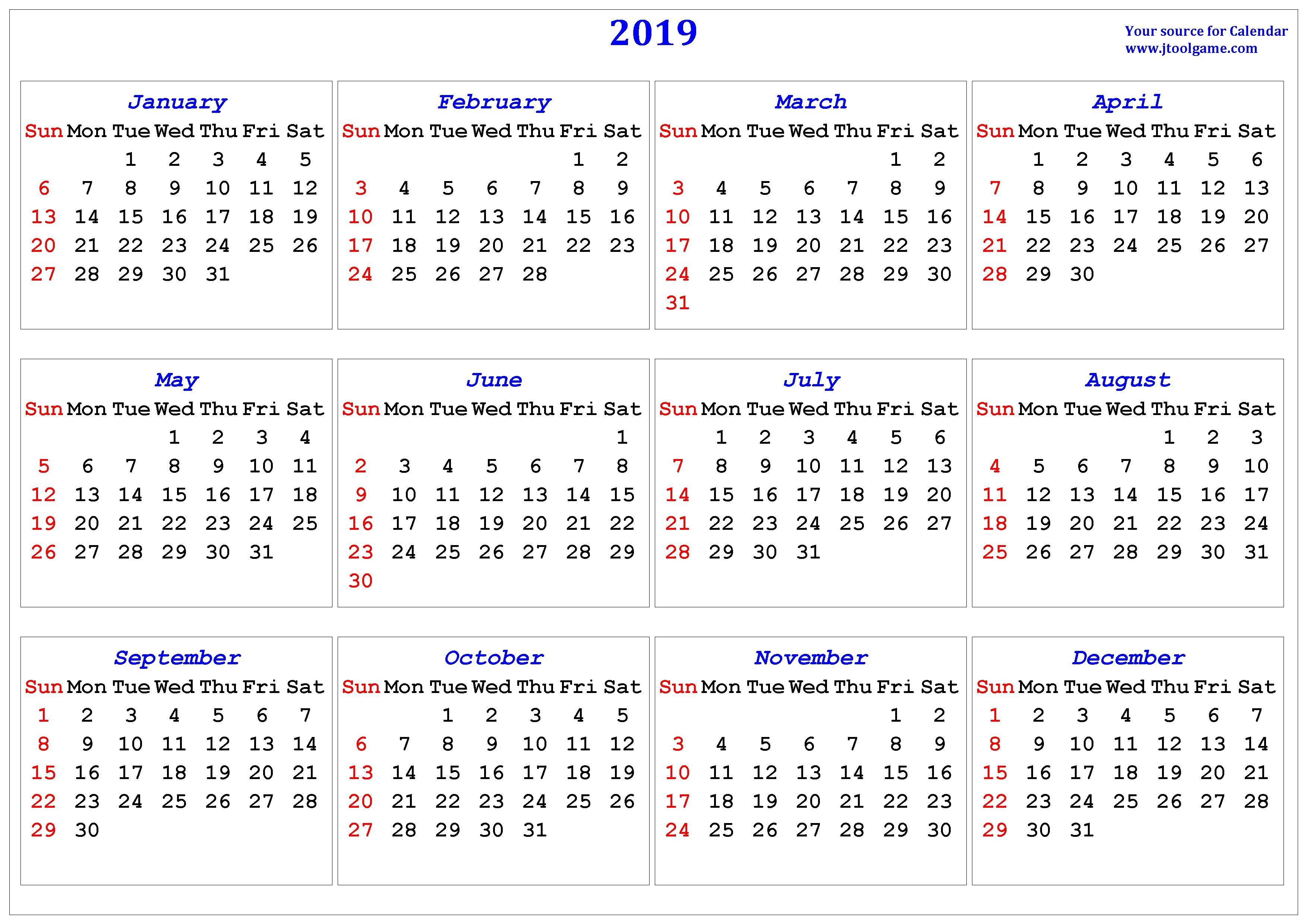2019 Calendar - Printable Calendar. 2019 Calendar In Multiple Colors Calendar 2019 Landscape