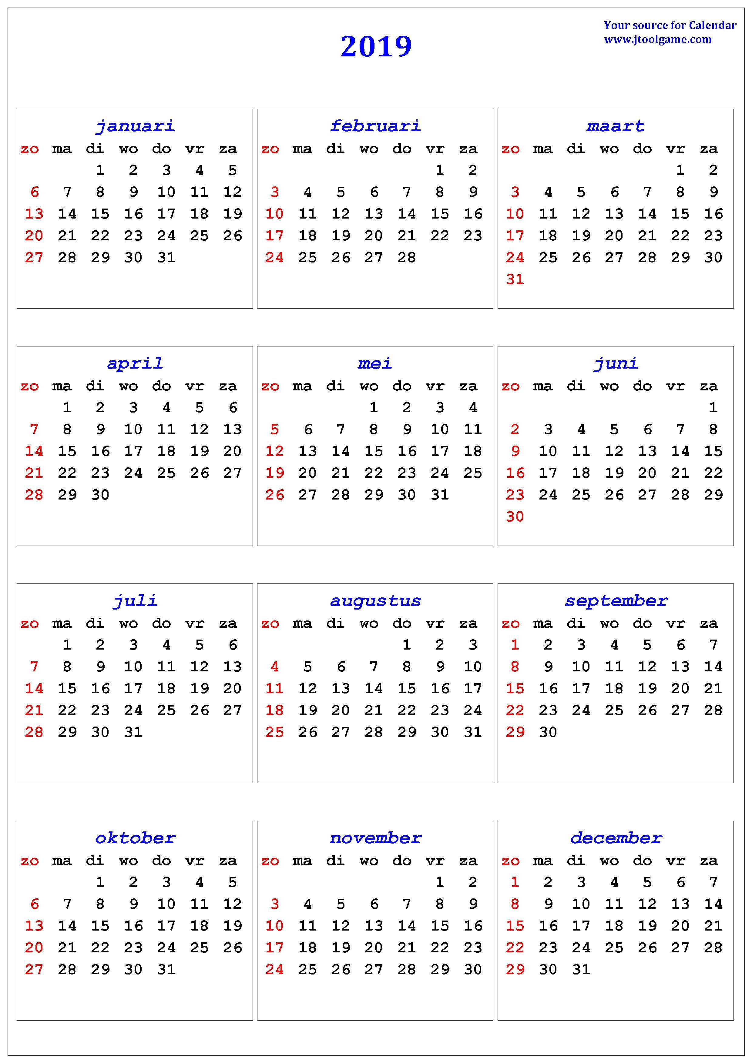 2019 Calendar - Printable Calendar. 2019 Calendar In Multiple Colors Calendar 2019 Za