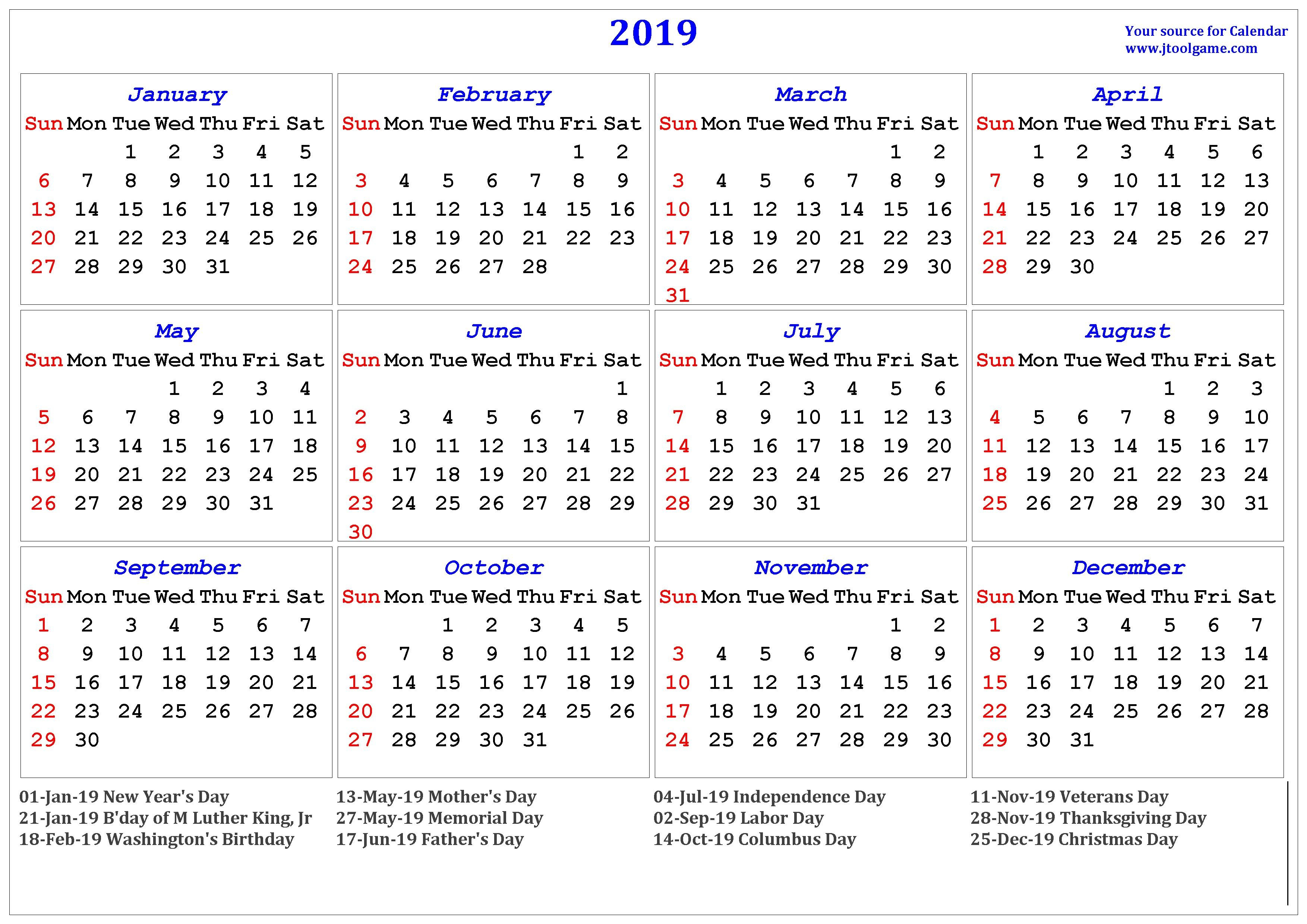 2019 Calendar - Printable Calendar. 2019 Calendar In Multiple Colors M Day Calendar 2019