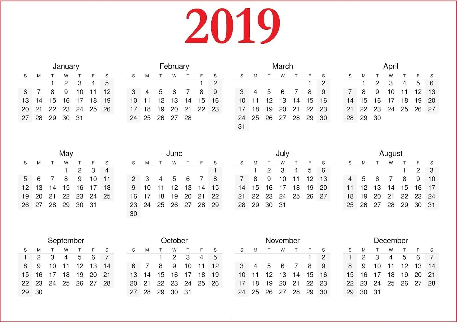 2019 Calendar Printable Nz | Yearly Calendar In One Page | Printable Calendar 2019 Nz