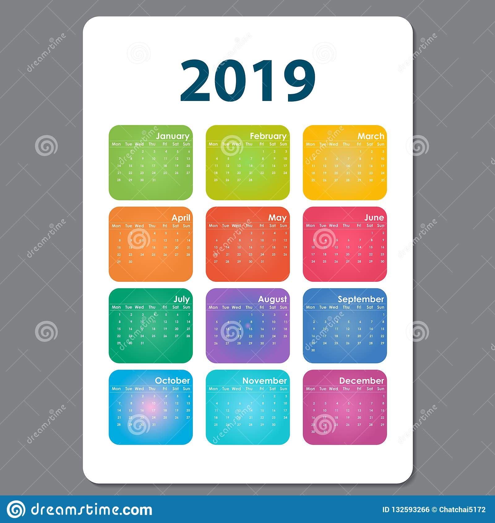 2019 Calendar Template.calendar 2019 Set Of 12 Months.yearly Cal Calendar 2019 Cool