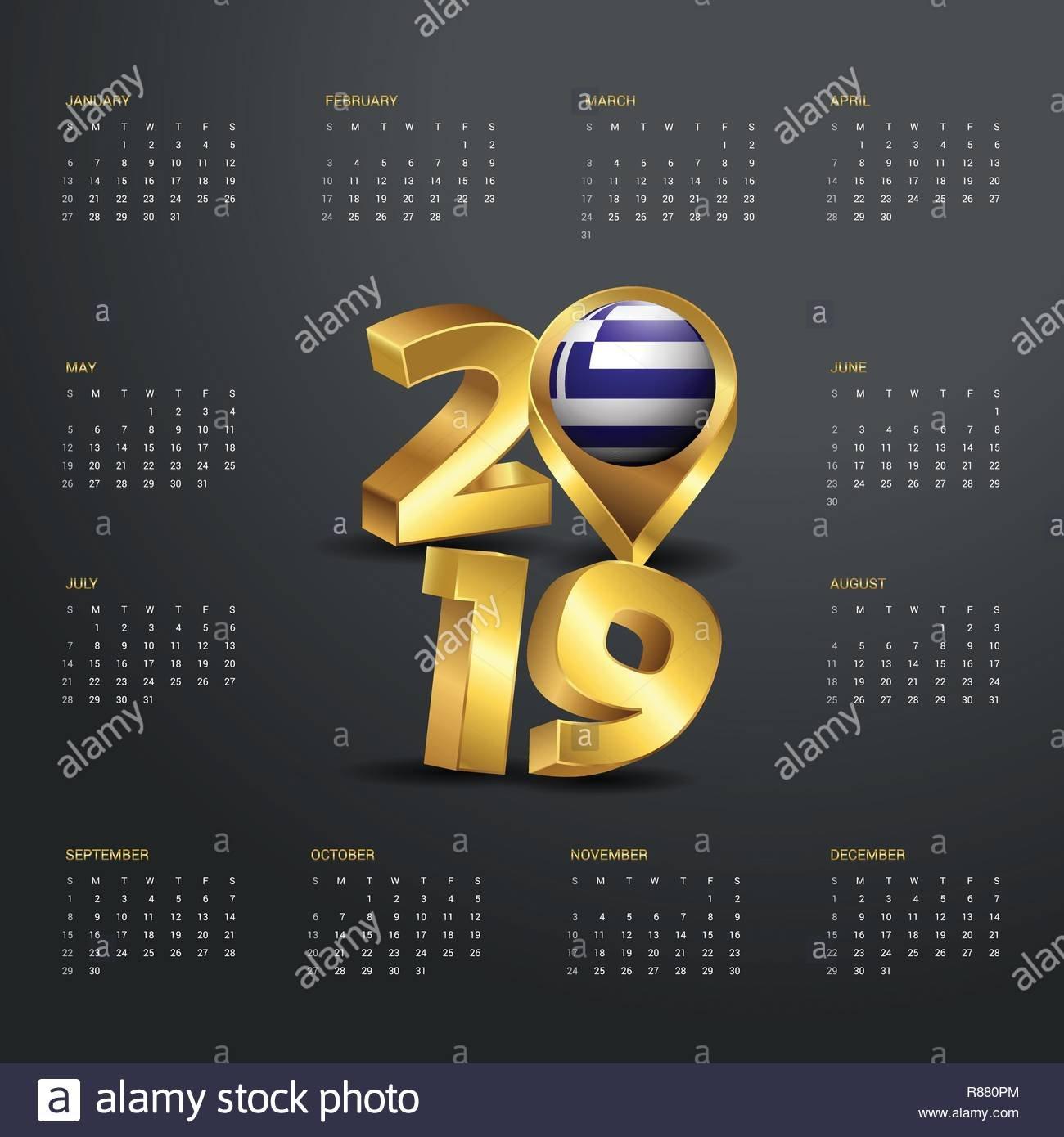 2019 Calendar Template. Golden Typography With Greece Country Map Calendar 2019 Greece