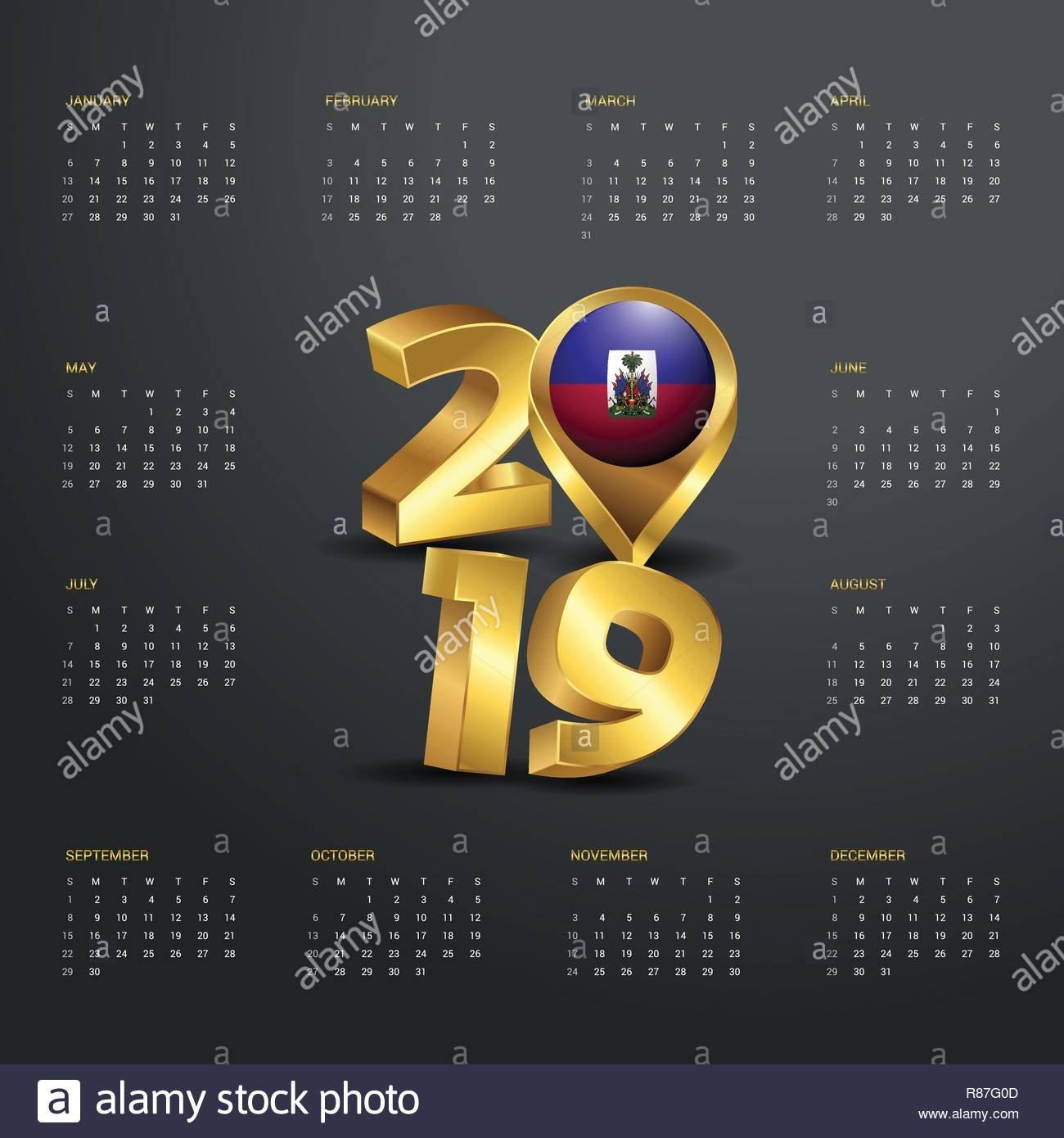 2019 Calendar Template. Golden Typography With Haiti Country Map Calendar 2019 Haiti