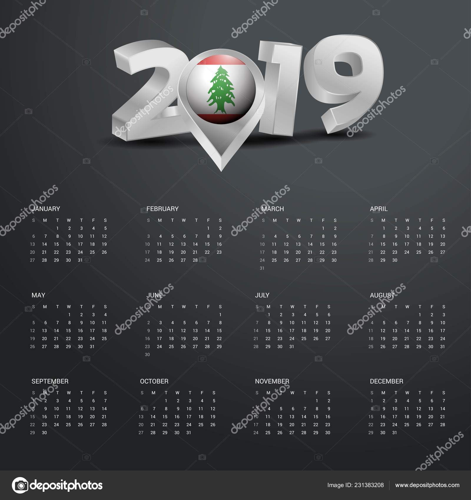 2019 Calendar Template Grey Typography Lebanon Country Map Golden Calendar 2019 Lebanon