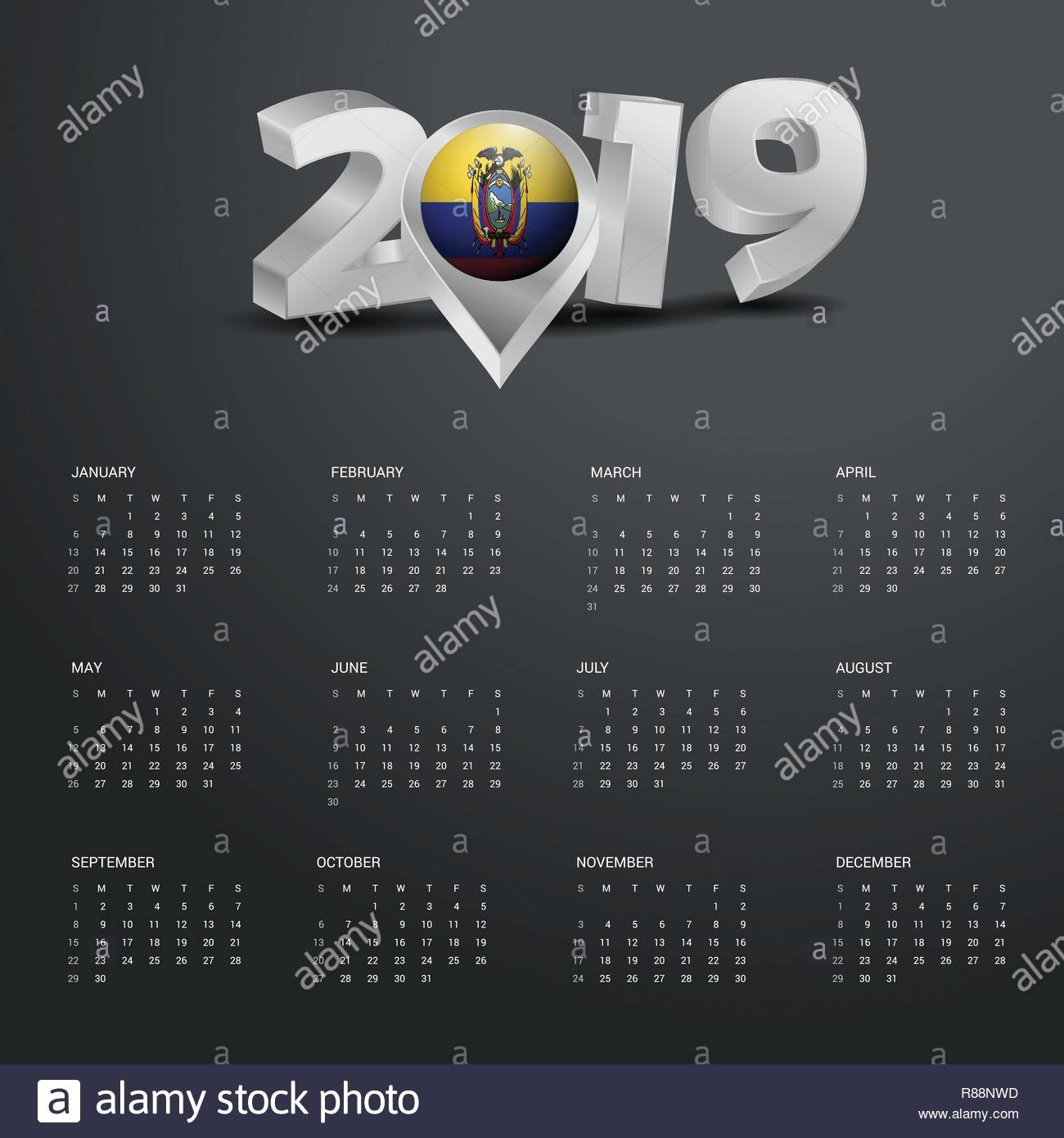 2019 Calendar Template. Grey Typography With Ecuador Country Map Calendar 2019 Ecuador