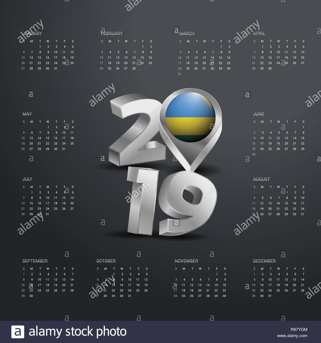2019 Calendar Template. Grey Typography With Rwanda Country Map Calendar 2019 Rwanda