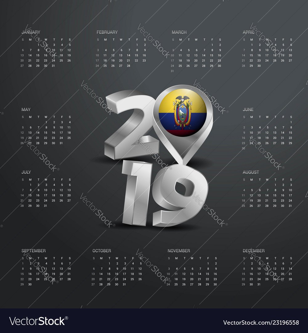 2019 Calendar Template Grey Typography With Vector Image Calendar 2019 Ecuador