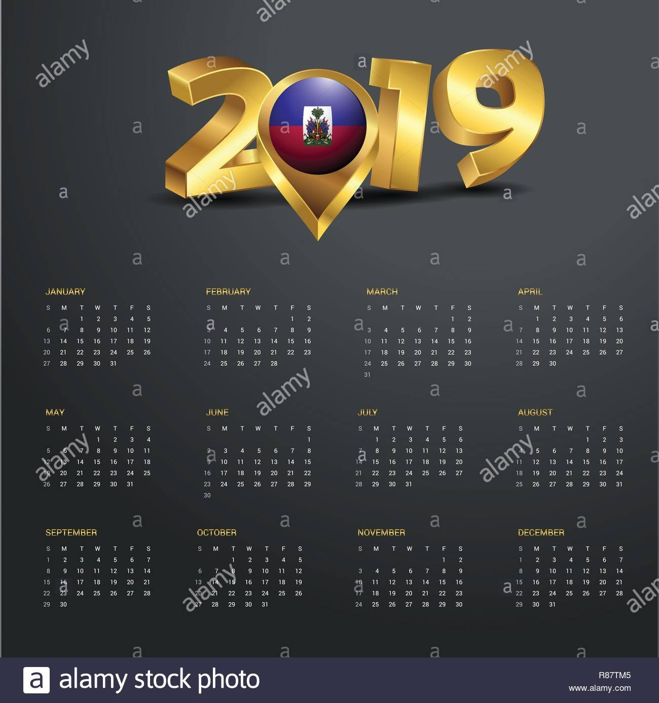 2019 Calendar Template. Haiti Country Map Golden Typography Header Calendar 2019 Haiti