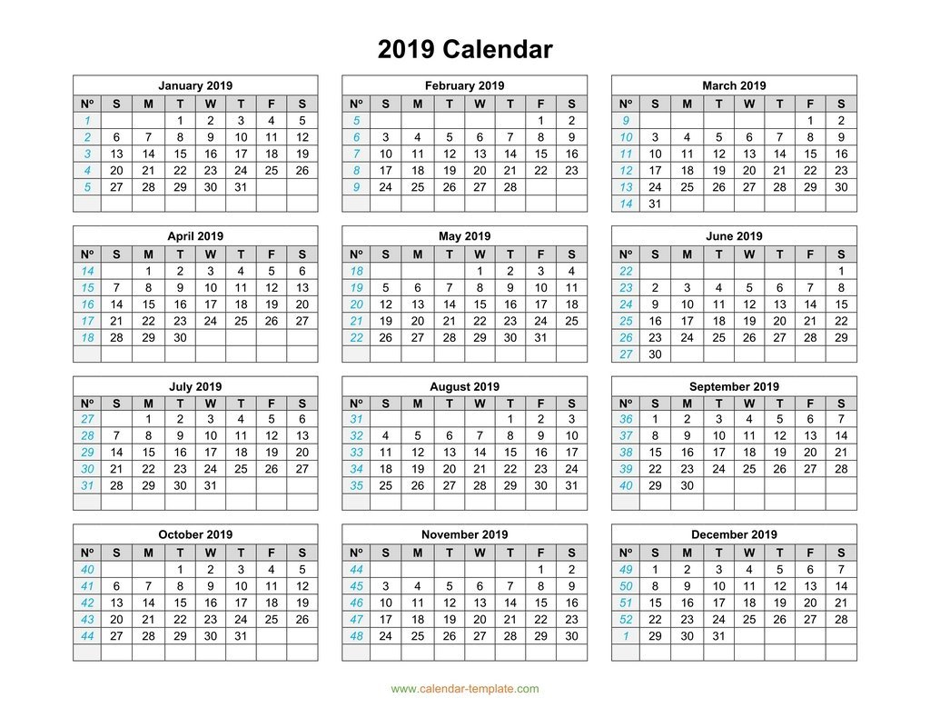 2019 Calendar Template On One Page Calendar 2019 Horizontal