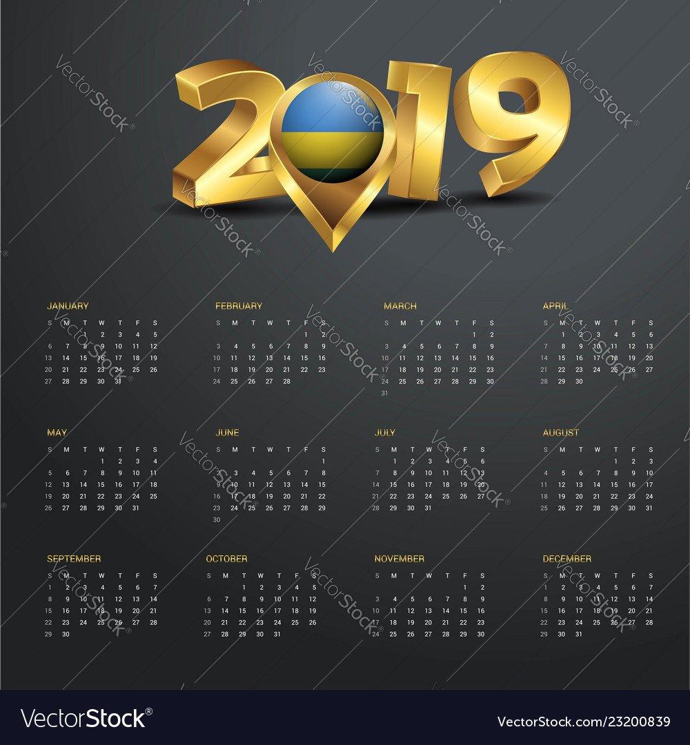2019 Calendar Template Rwanda Country Map Golden Vector Image Calendar 2019 Rwanda