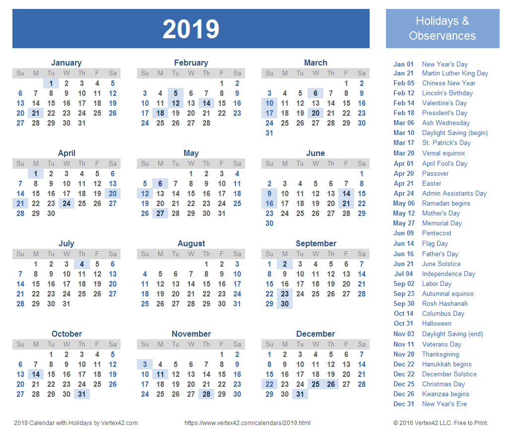 2019 Calendar Templates And Images Calendar 2019 With Holidays Printable