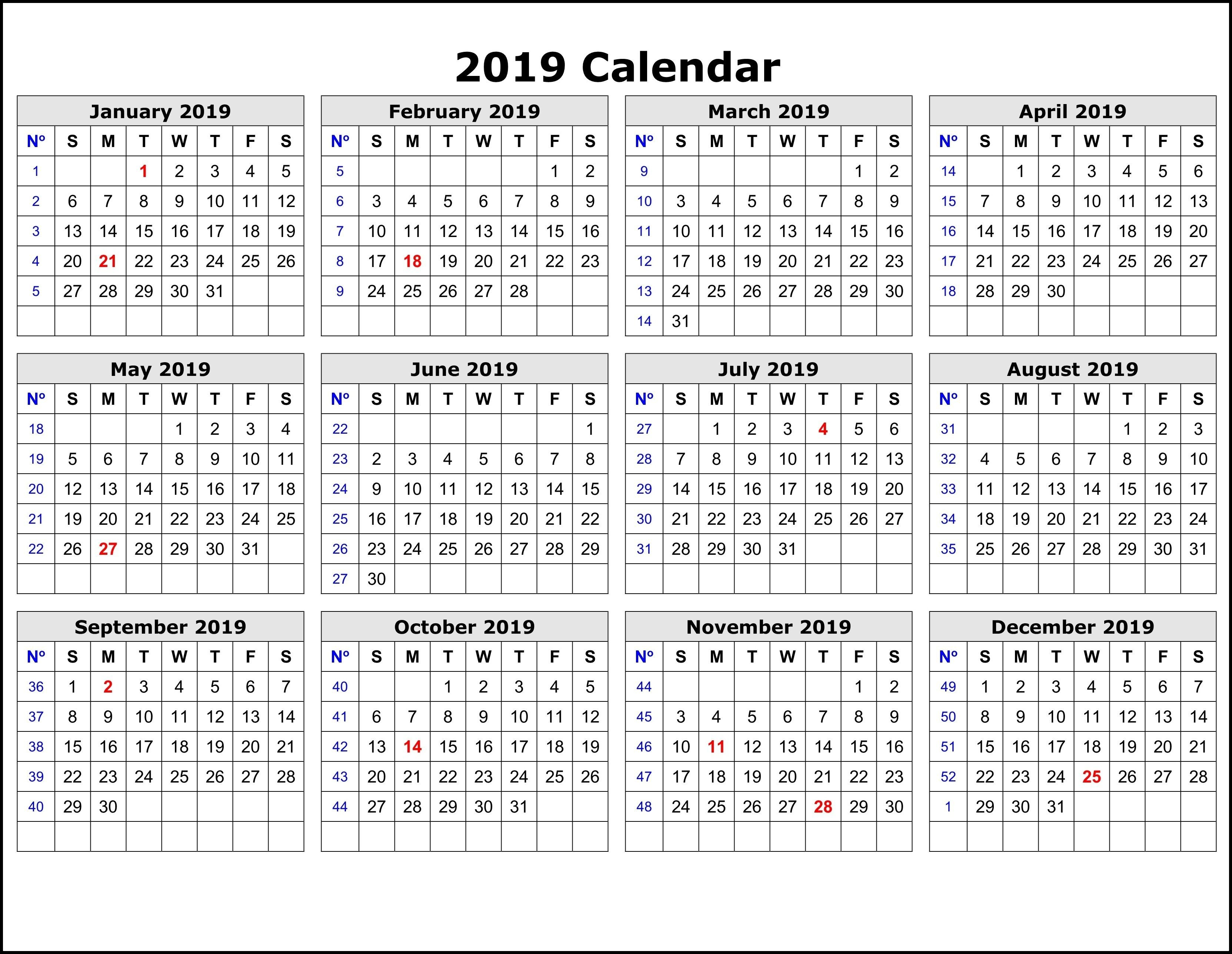 2019 Calendar Templateweek | Exercise | Printable Calendar Pages Calendar Week 40 2019