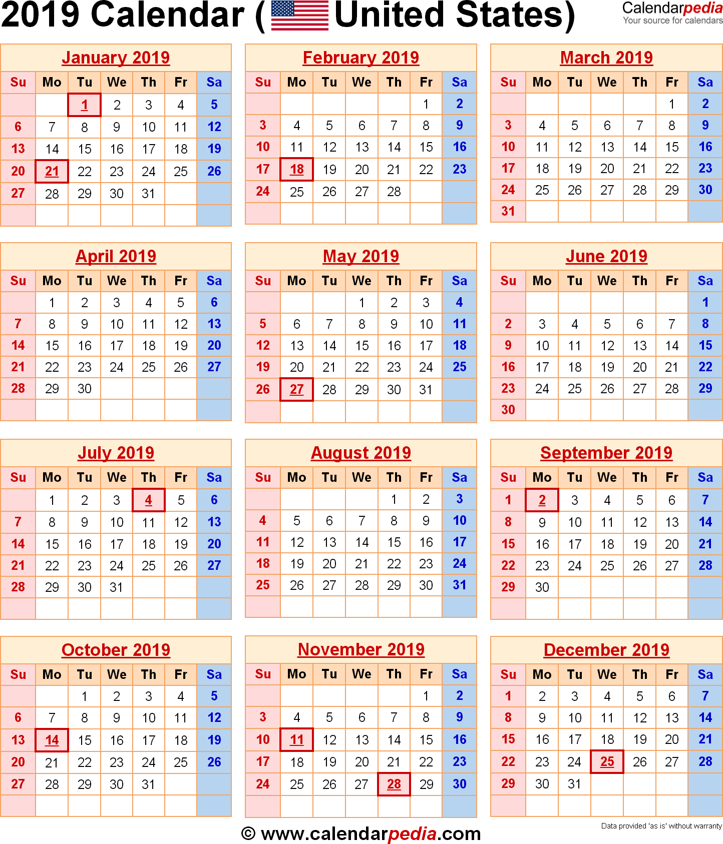 2019 Calendar United States | Us Federal Holidays | 2019 Calendar Us U.s. Calendar 2019