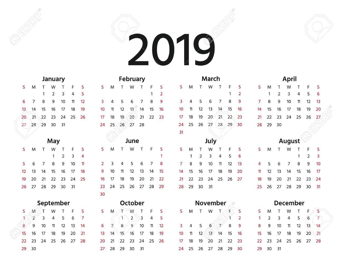 2019 Calendar. Vector. Week Starts Sunday In Minimal Simple Style Calendar Week 3 2019