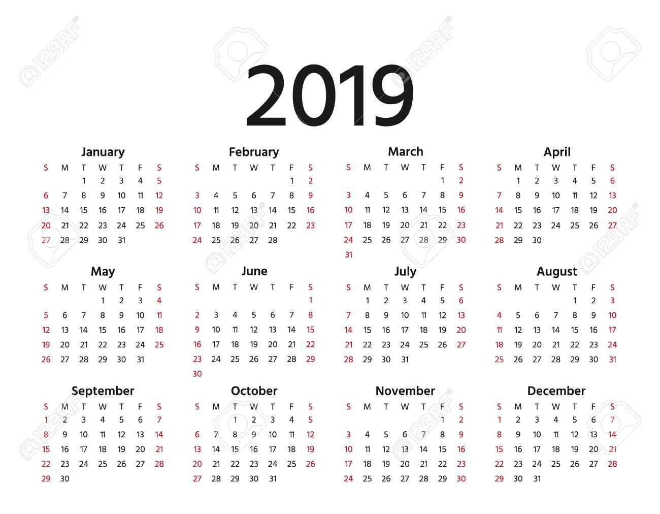 2019 Calendar. Vector. Week Starts Sunday In Minimal Simple Style Calendar Week 30 2019