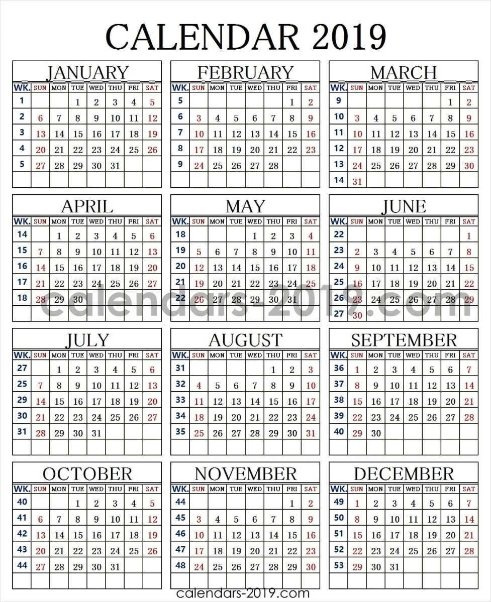 2019 Calendar Week Numbers | 2019 Yearly Calendar | Weekly Calendar Calendar Week 43 2019