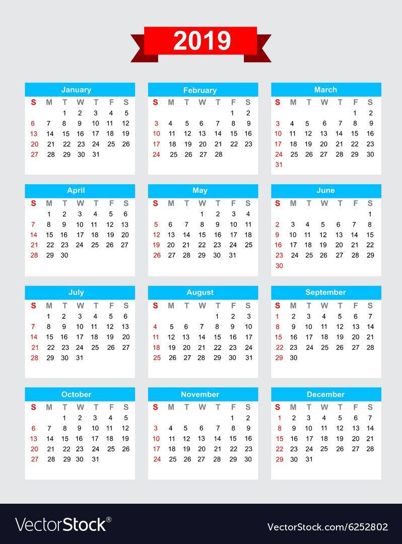 2019 Calendar Week Start Sunday Royalty Free Vector Image Calendar 2019 Week 1