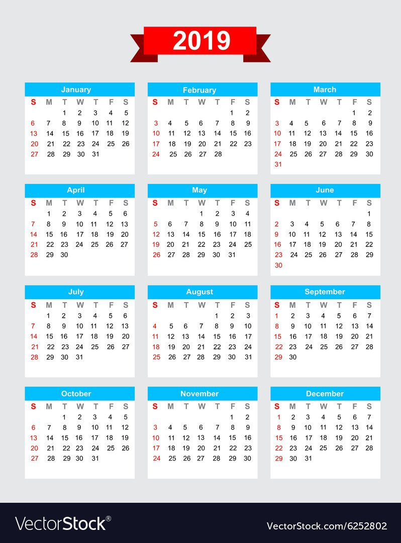 2019 Calendar Week Start Sunday Royalty Free Vector Image Calendar Week 30 2019