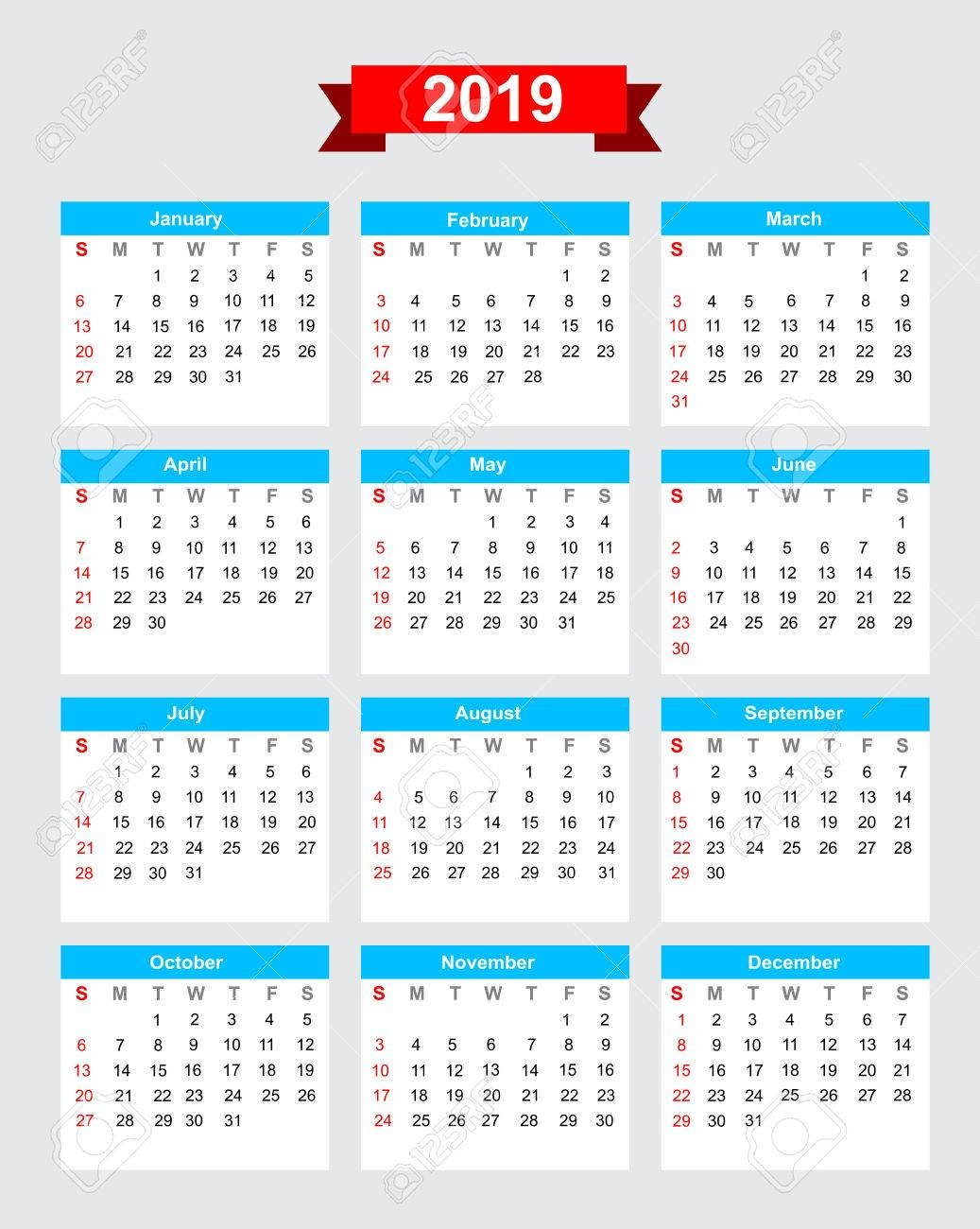 2019 Calendar Week Start Sunday Vector Royalty Free Cliparts Calendar Week 11 2019