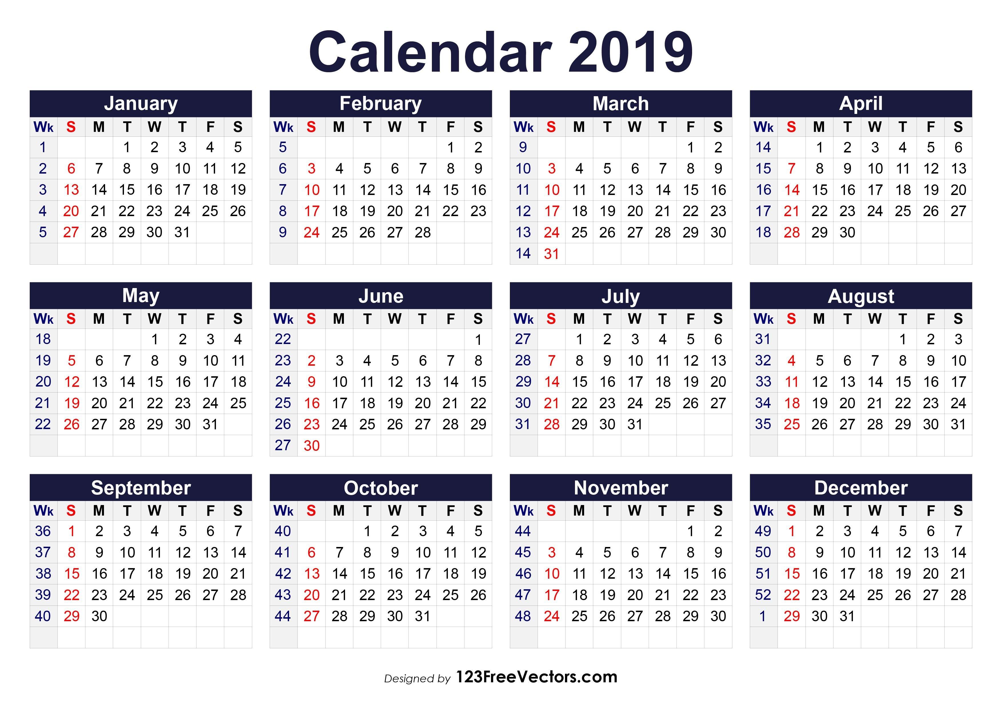 2019 Calendar Weeks Per Month - Kalender Plan Calendar 2019 Numbered Weeks