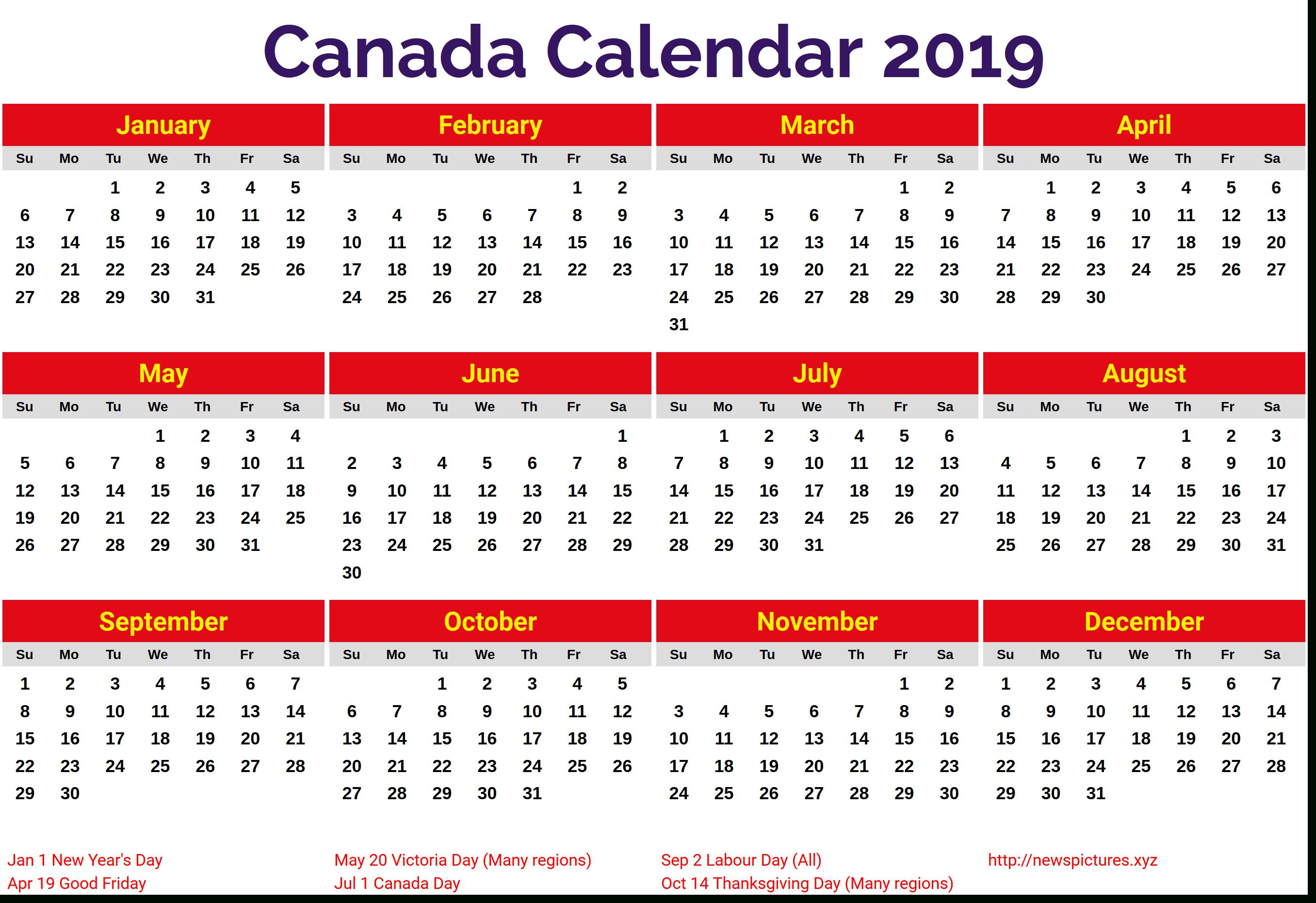 2019 Calendar With Holidays Canada #canadacalendar Calendar 2019 Canada