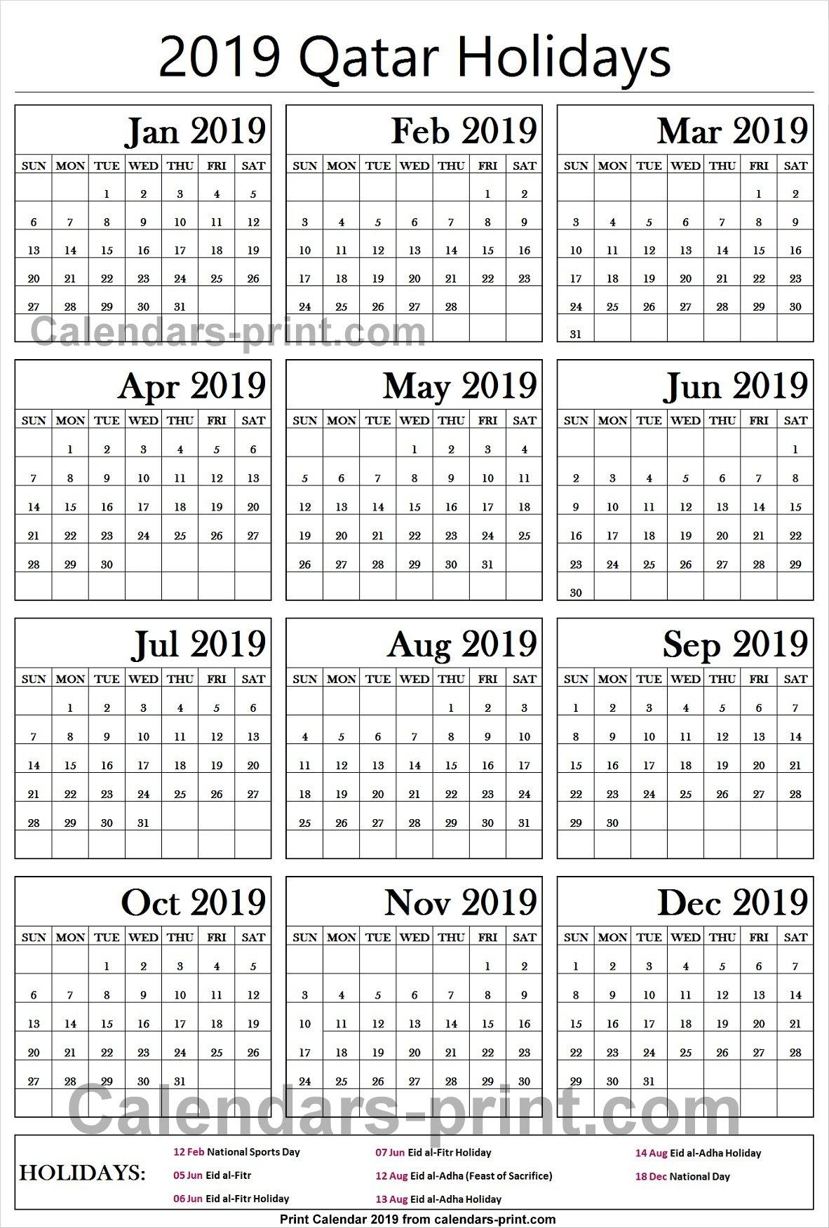 2019 Calendar With Holidays Qatar Printable | 2019 Calendar Template Calendar 2019 Qatar